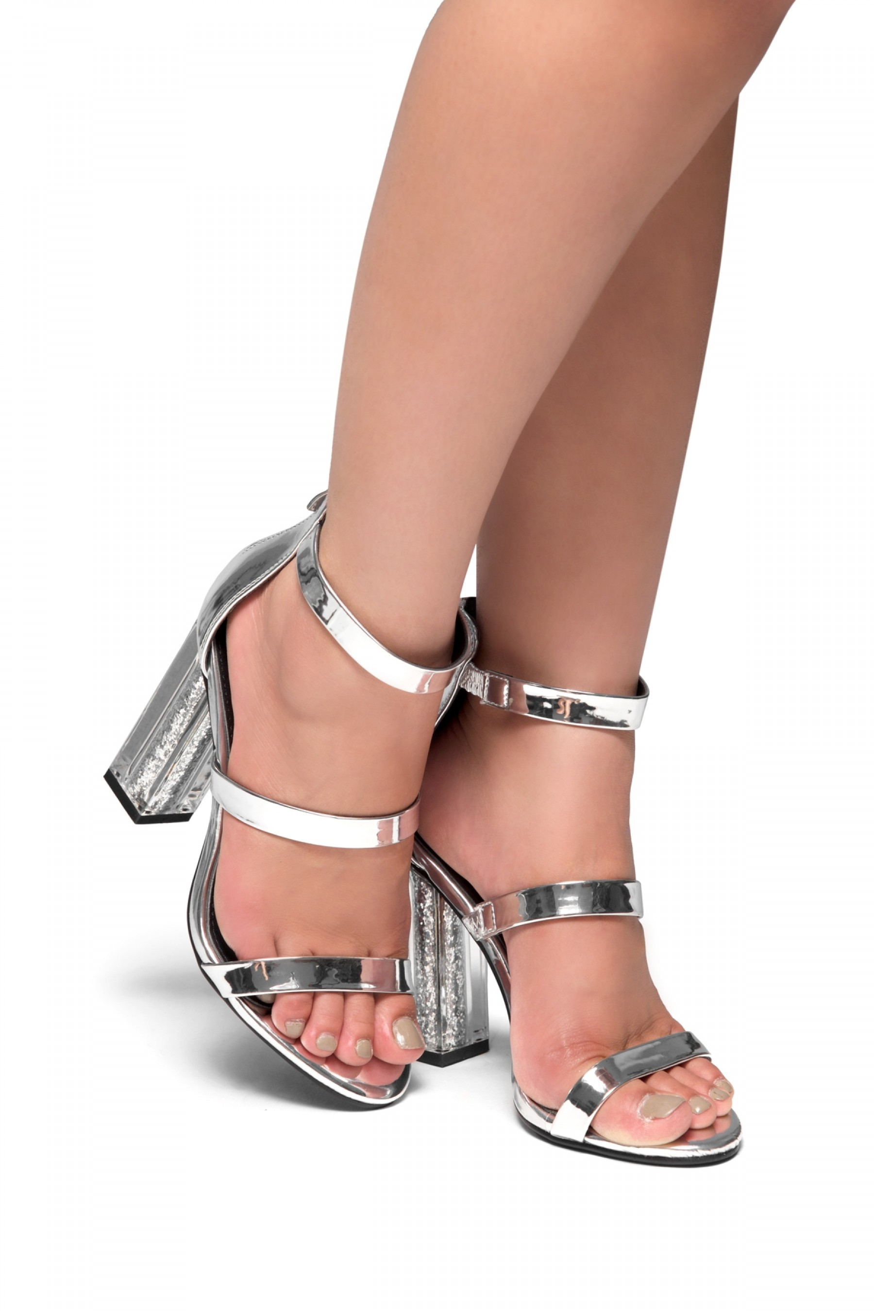 HerStyle Daainna-Perspex heel with glitter (Silver)
