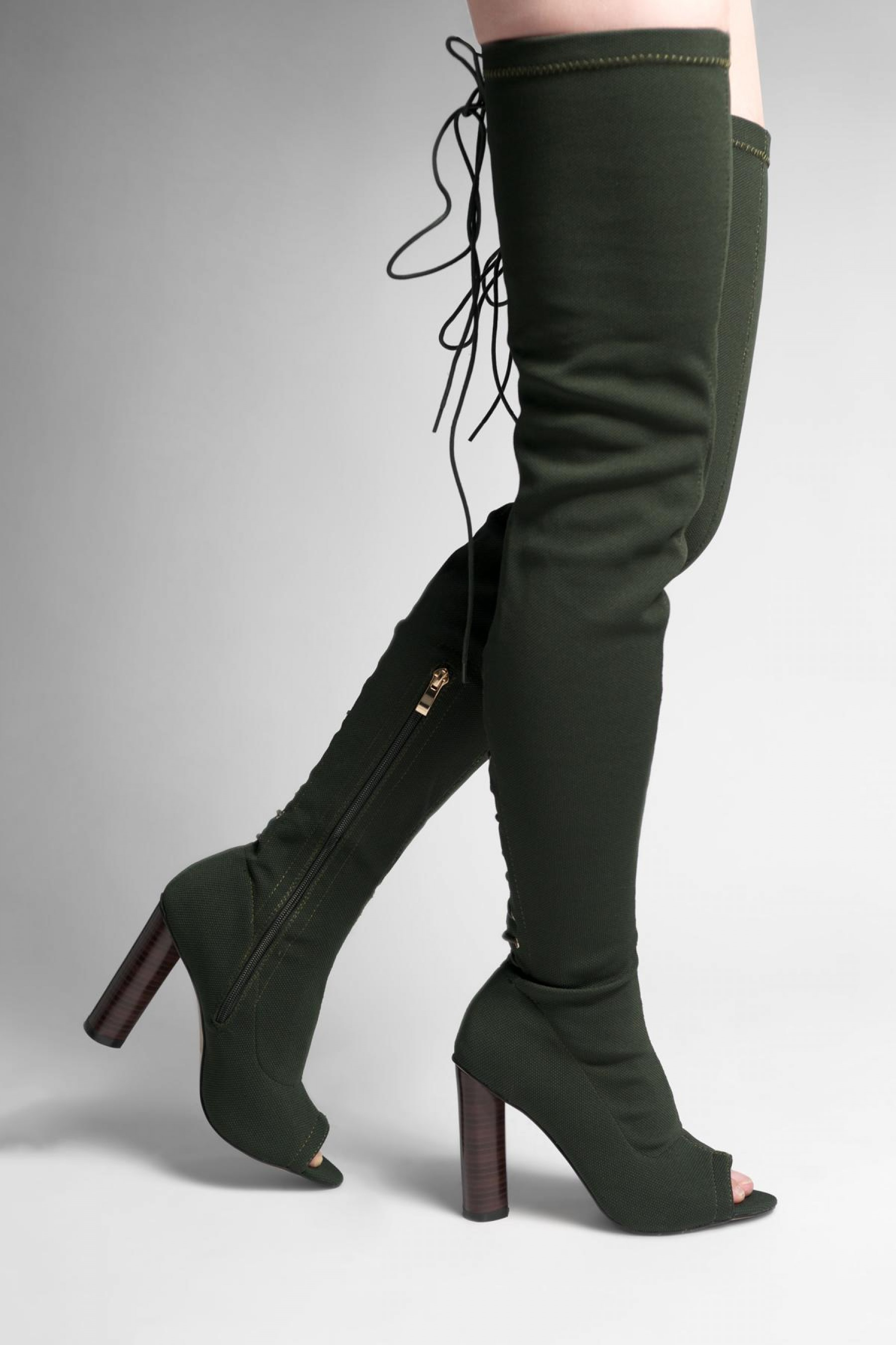HerStyle Dainna peep toe, long sock boot with lace up back fastenind, thigh high, chunky heel (Olive)