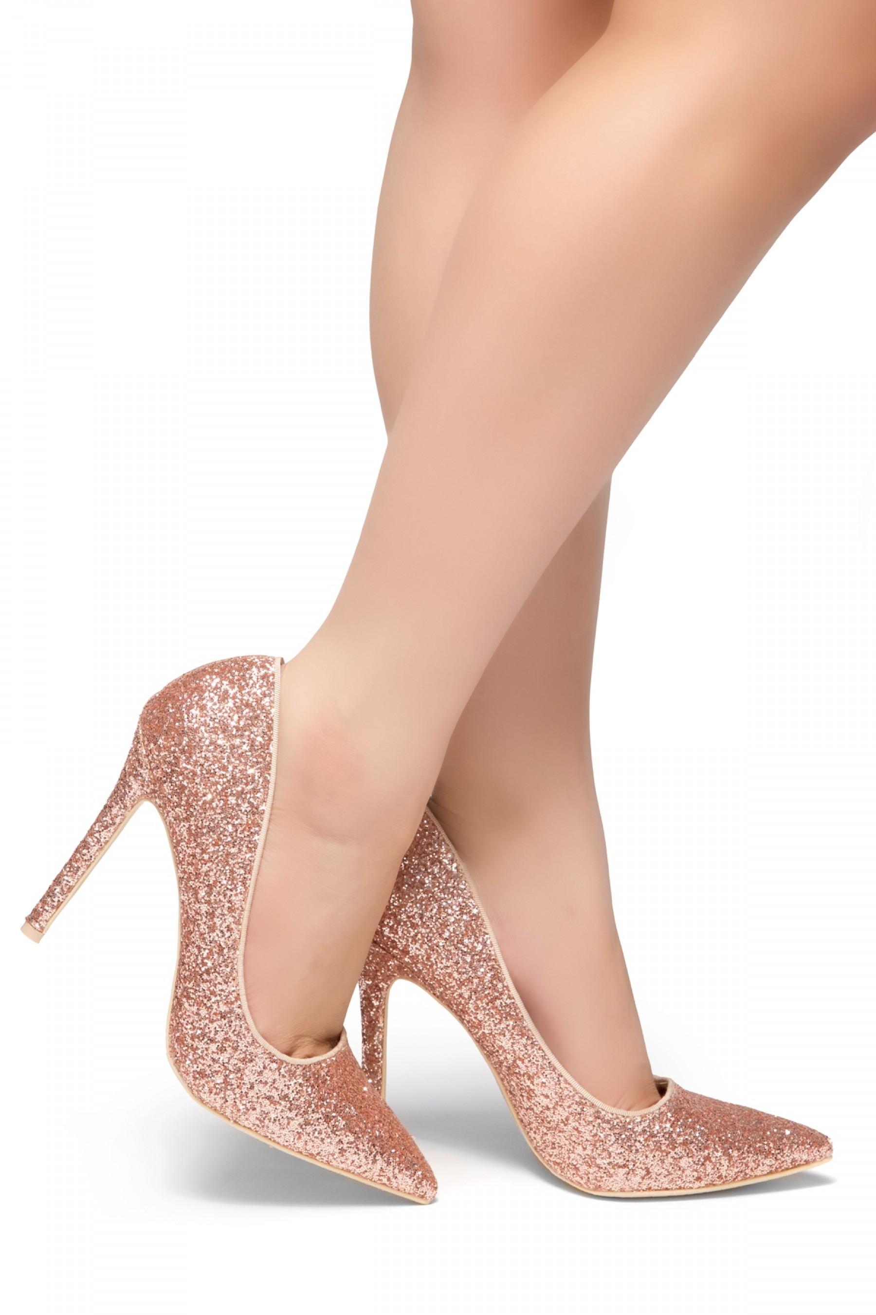 HerStyle Daisie- Glitter Details, Pointed Toe, Stiletto Heel (RoseGold Glitter)