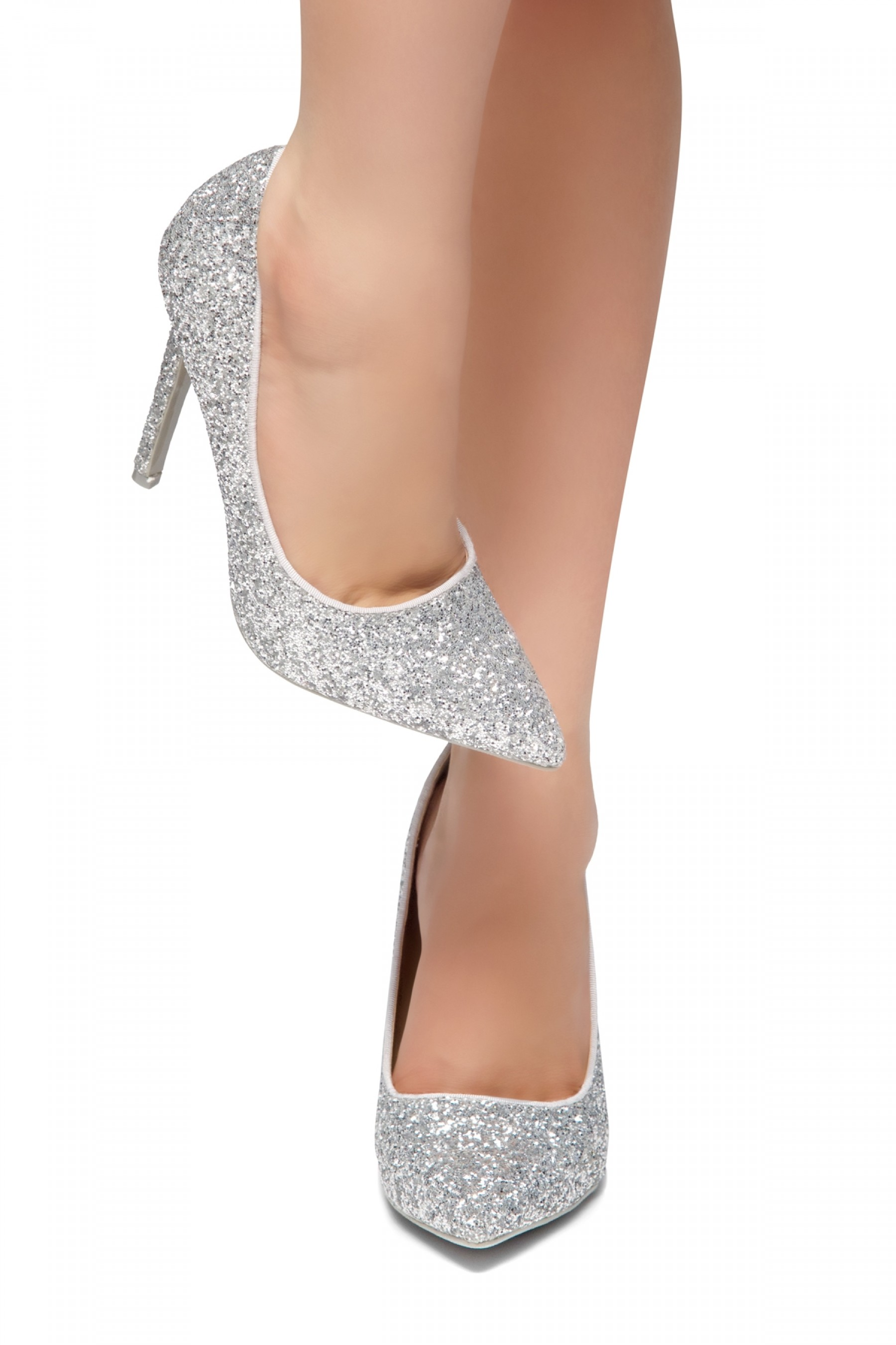 HerStyle Daisie- Glitter Details, Pointed Toe, Stiletto Heel (Silver Glitter)