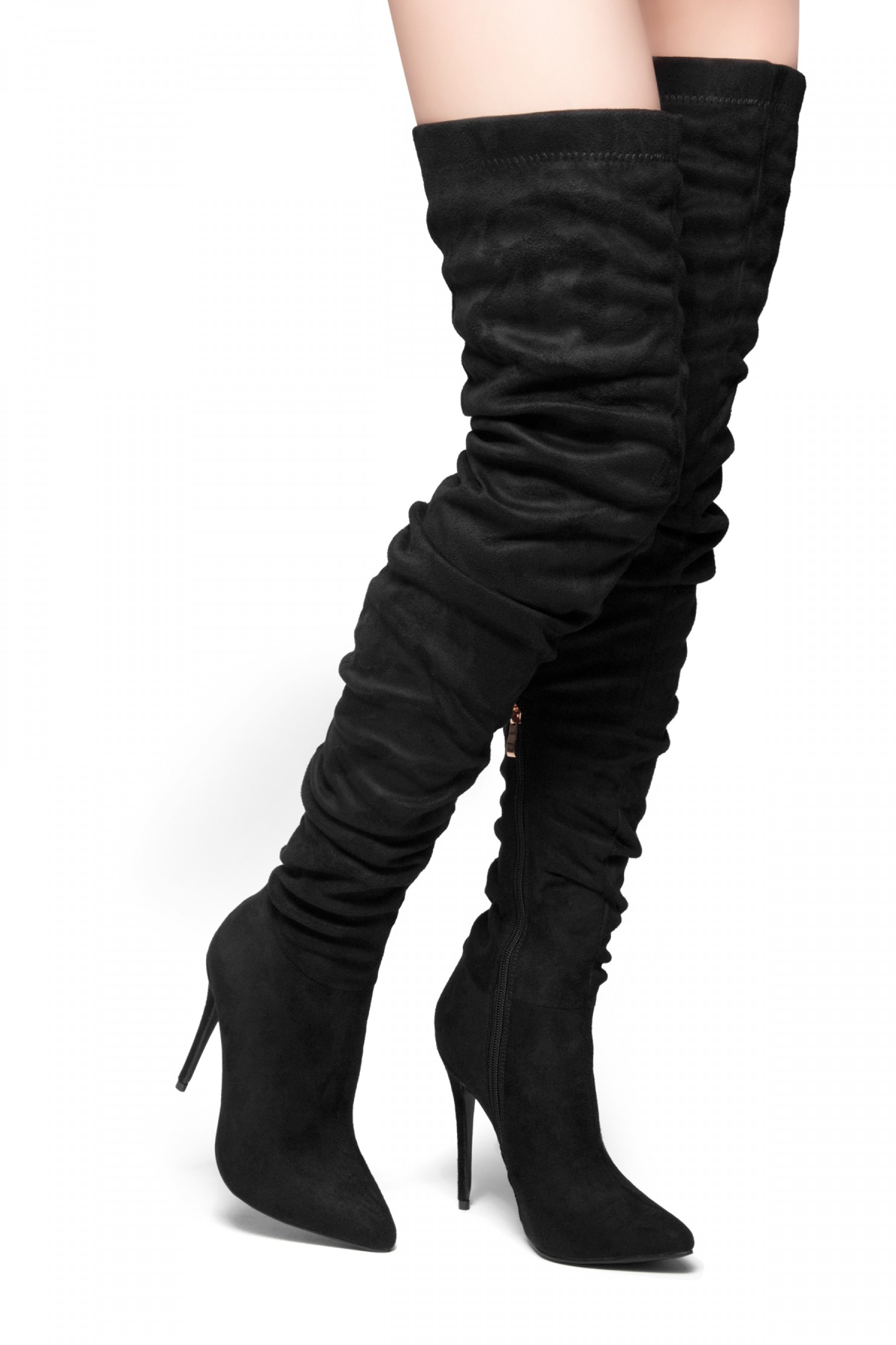 HerStyle-Deadly Lust-pointed toe, stiletto heel,slouchy Silhouette,thigh high construction (Black)