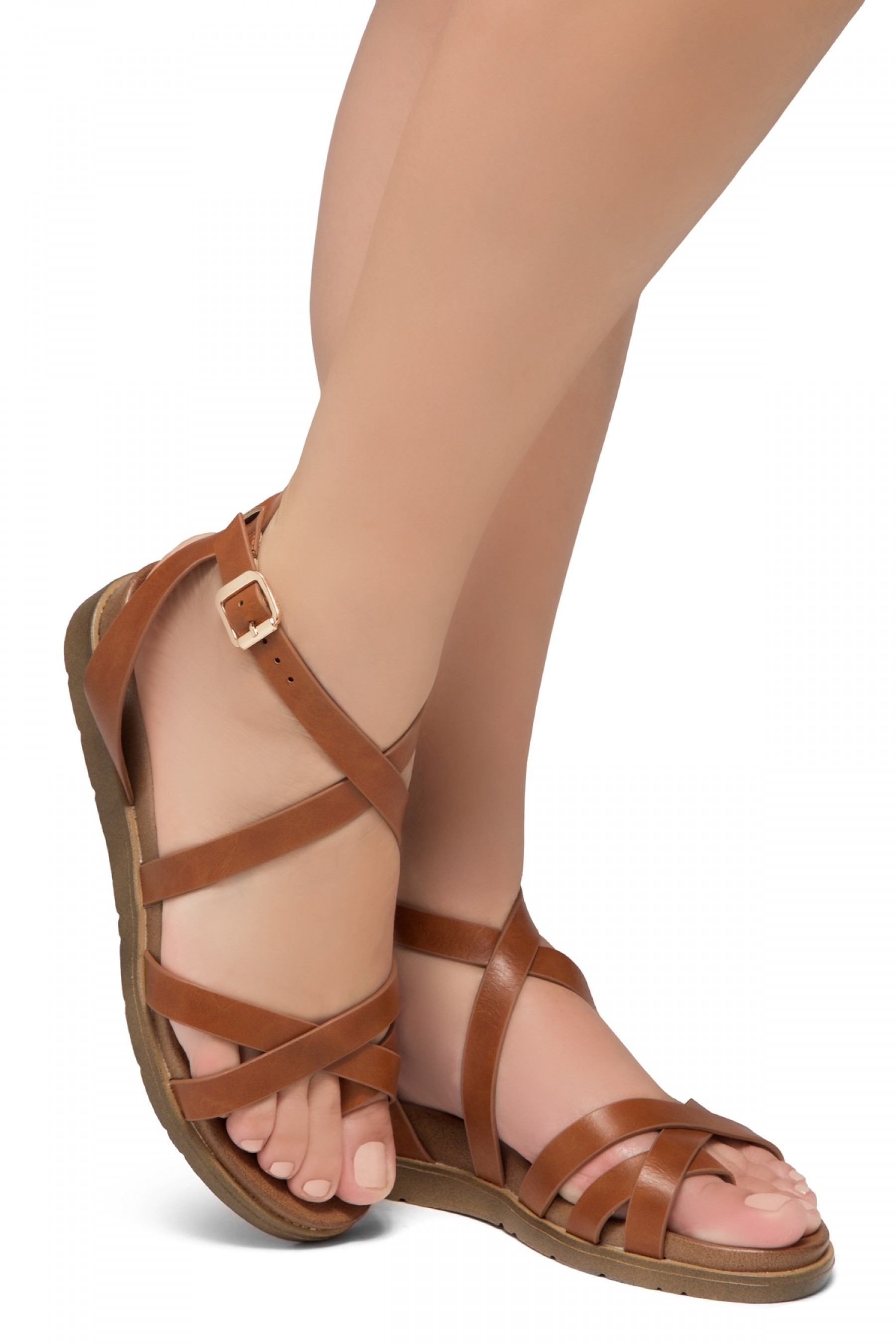 Shoe Land Dessi-Women's Fashion Strap Sandals Toe Loop with Buckle Low Wedge Platform Heel Comfortable Shoes (Tan)