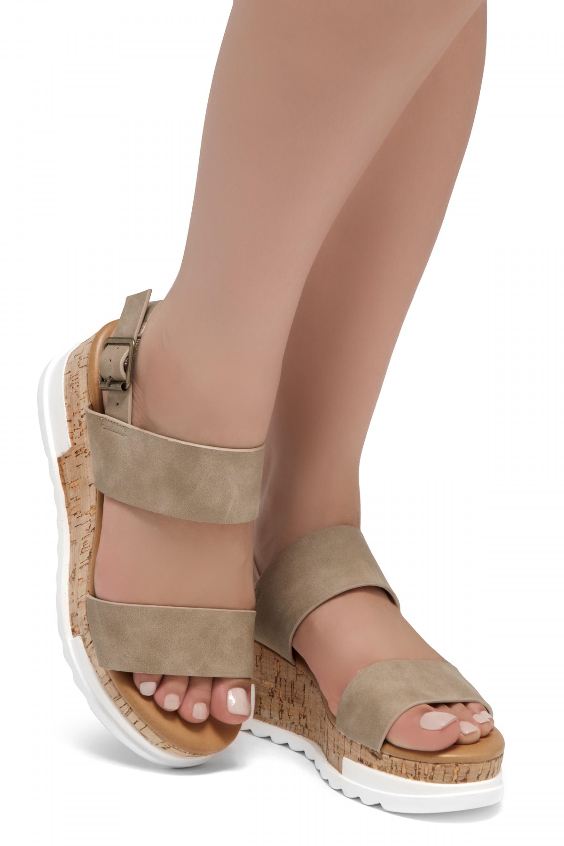 ShoeLand DIRASSA-Women's Open Toe Ankle Strap Platform Wedge Sandals(Natural)