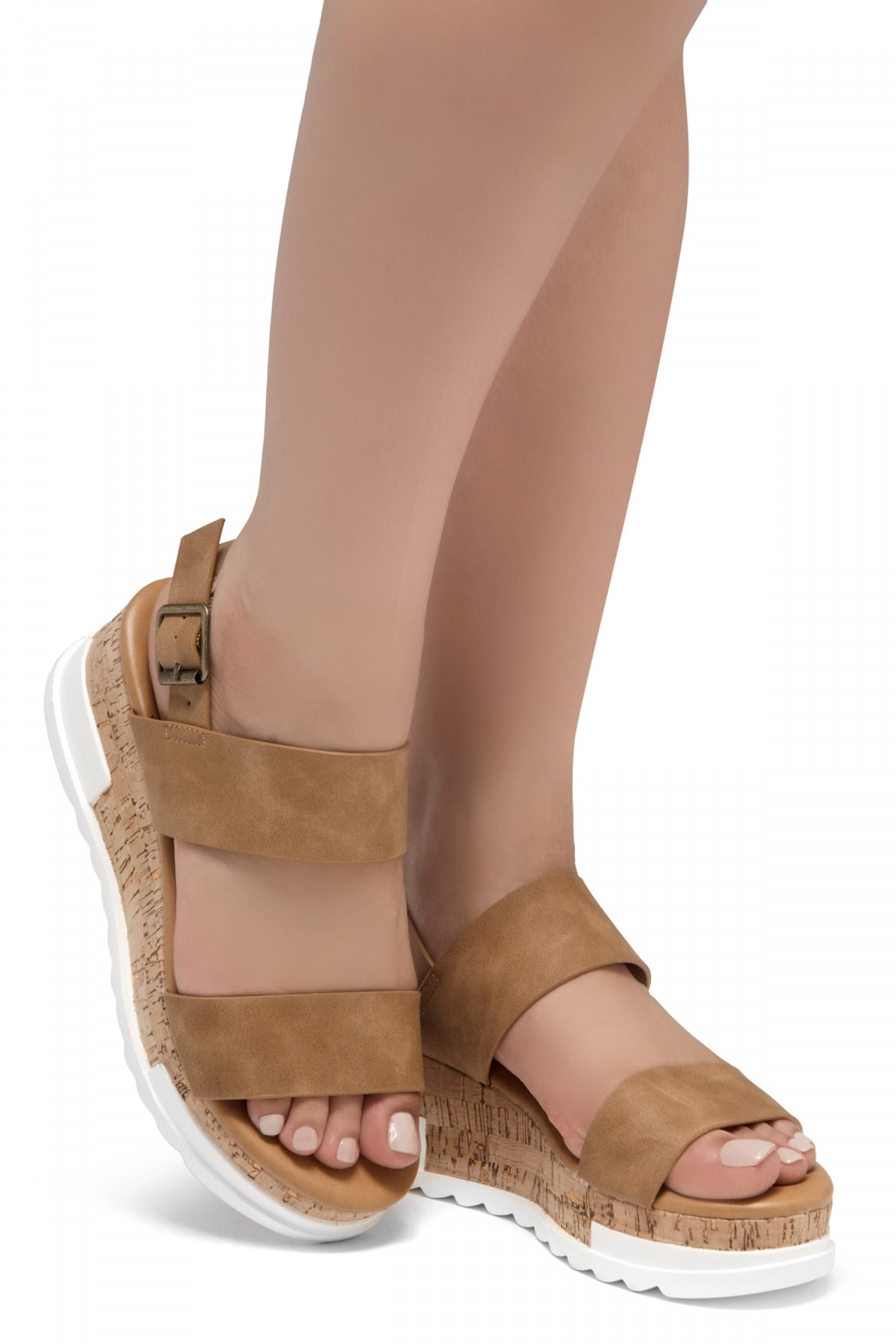 ShoeLand DIRASSA-Women's Open Toe Ankle Strap Platform Wedge Sandals(Tan)