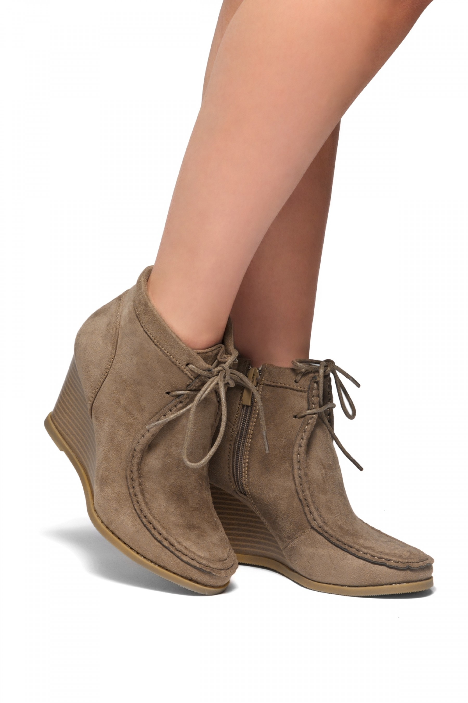 Women's Eaddy Ysabel Lace-up Wedge Chukka Boot - Khaki