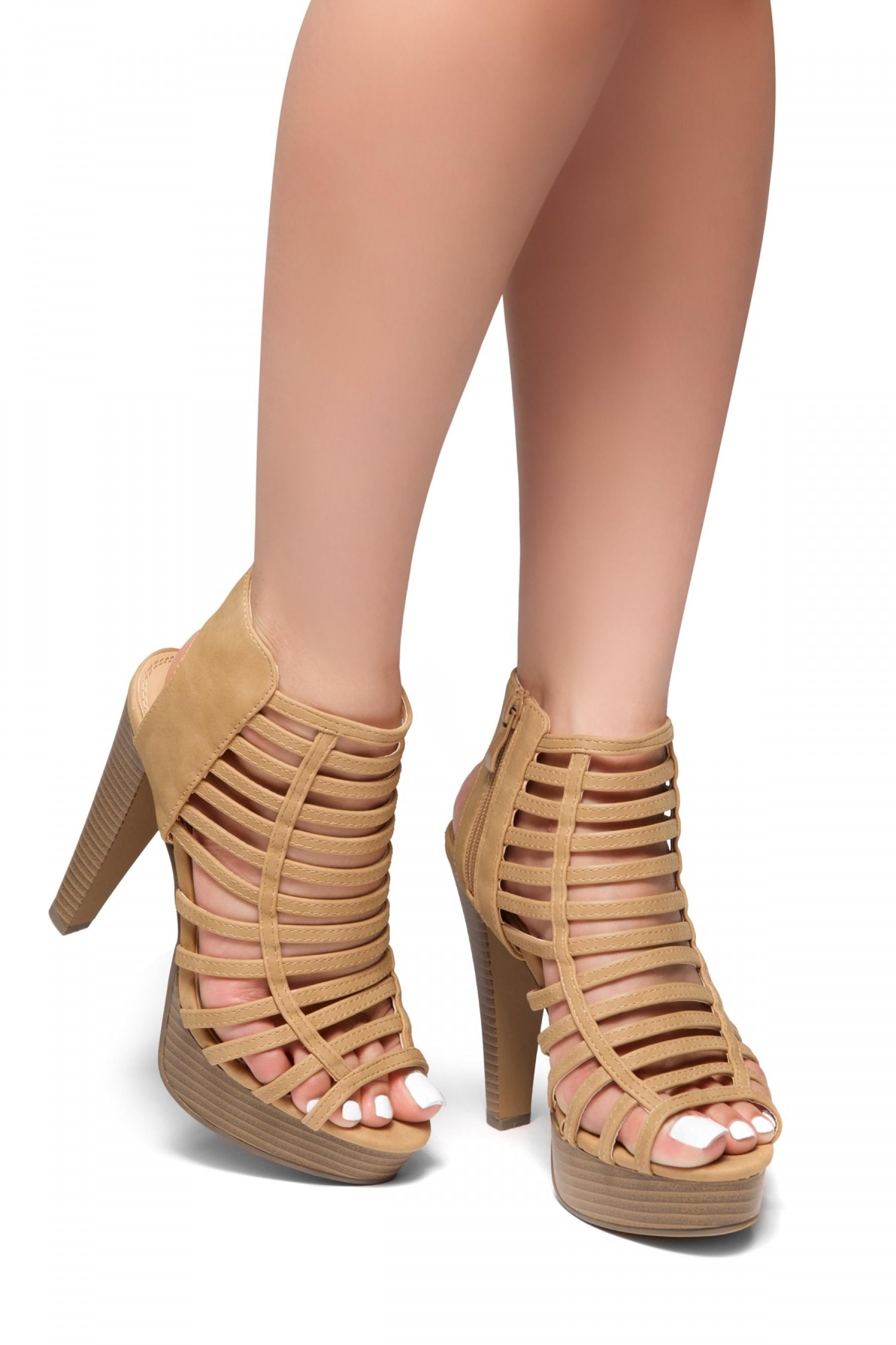 HerStyle Elevate Me-Peep Toe Chunky Platform Heel (Nude)