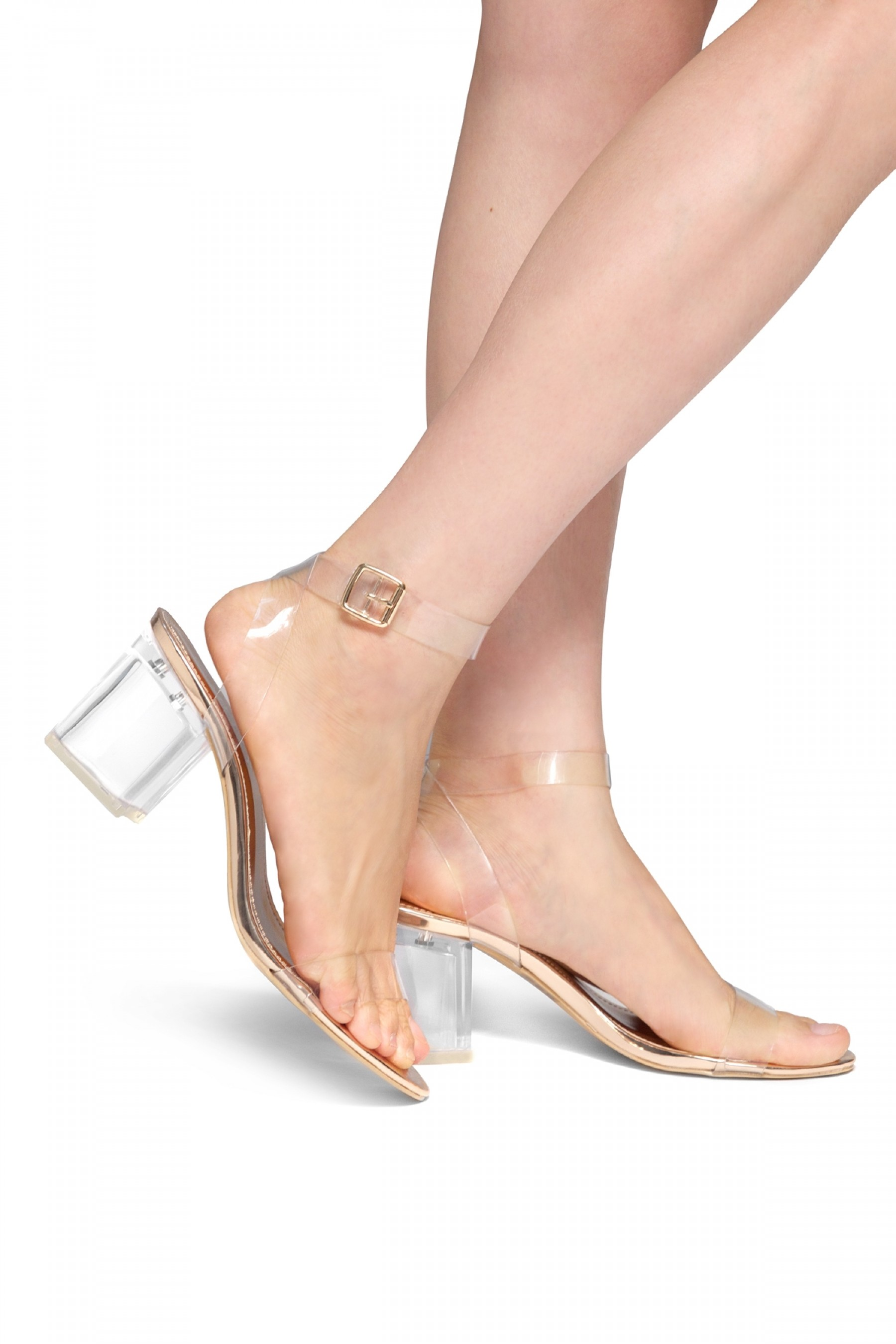 Elinda Perspex heel ankle strap with an adjustable buckle (Clear ...