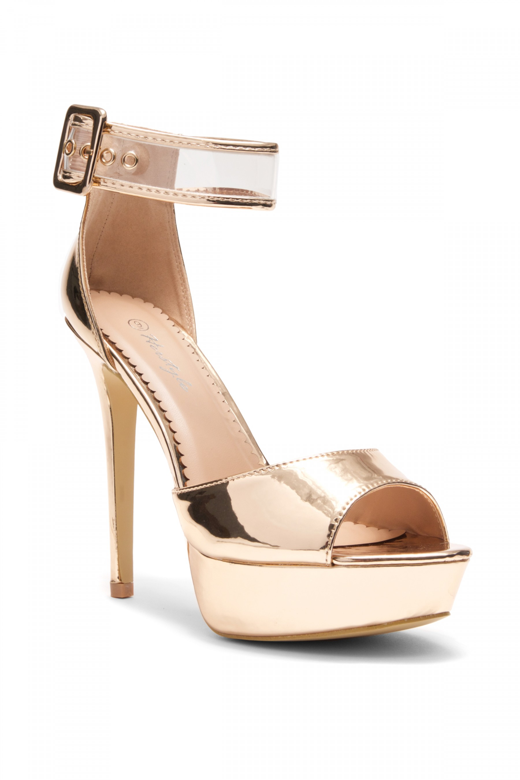 Elinnaa platform, stiletto heel, Perspex ankle strap (Rose Gold)