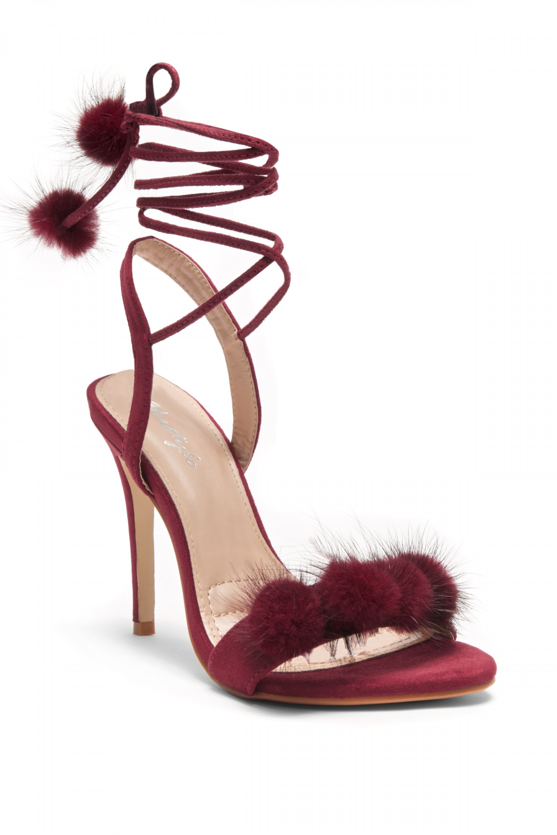 853b4934afd4f Herstyle Women,s Elissee Faux Pom Pom accents, Ankle lace-up, Stiletto Heel  - Burgundy