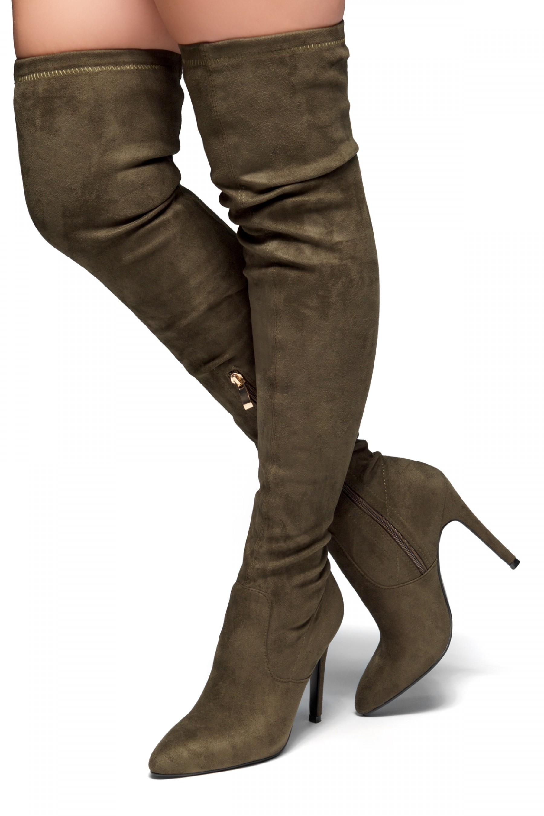 HerStyle Ellinnaa-Stiletto heel, Thigh high, Sock Boots(Olive)