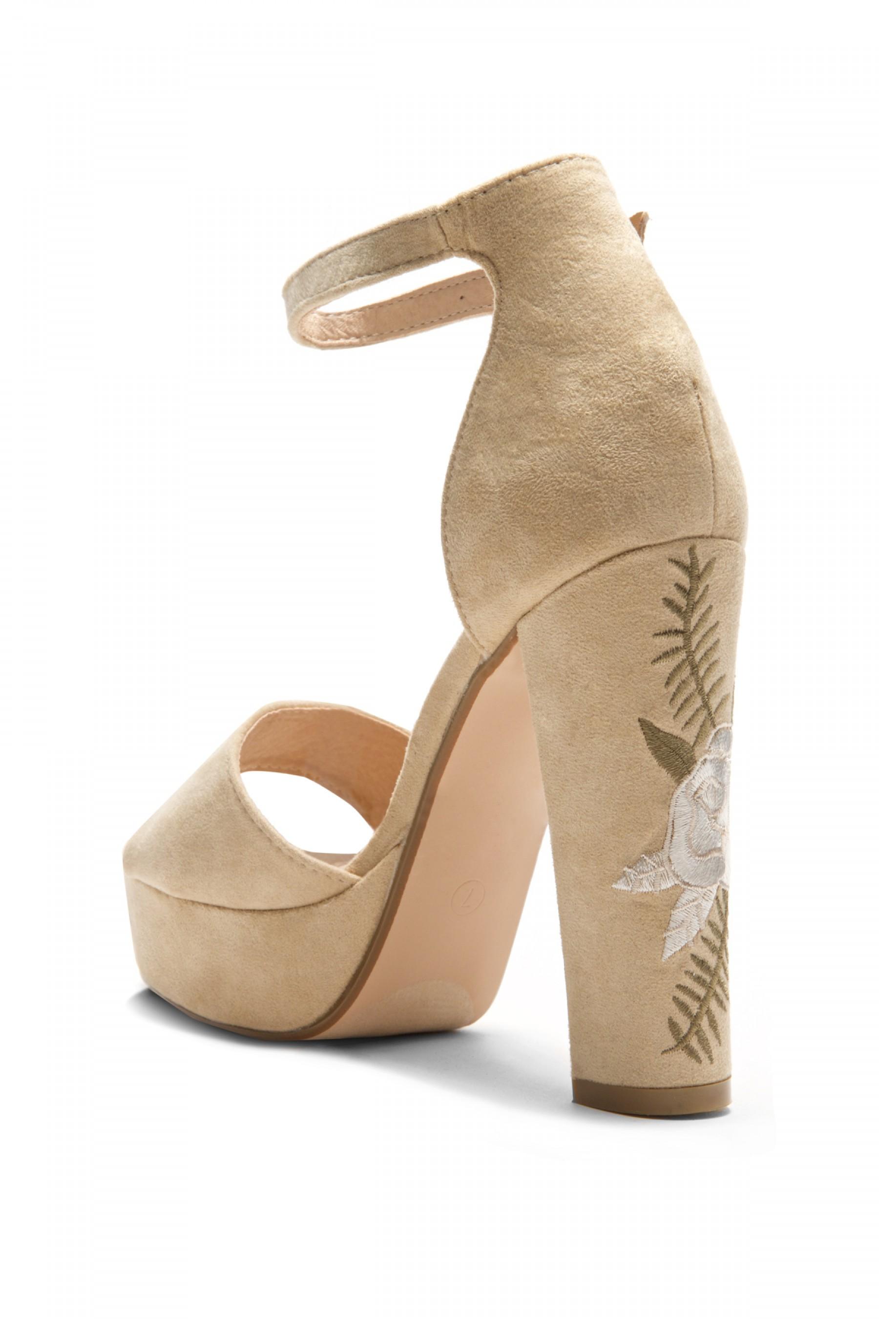 HerStyle Ellisse Faux Suede Floral Embroidered Platform Heel (Camel)