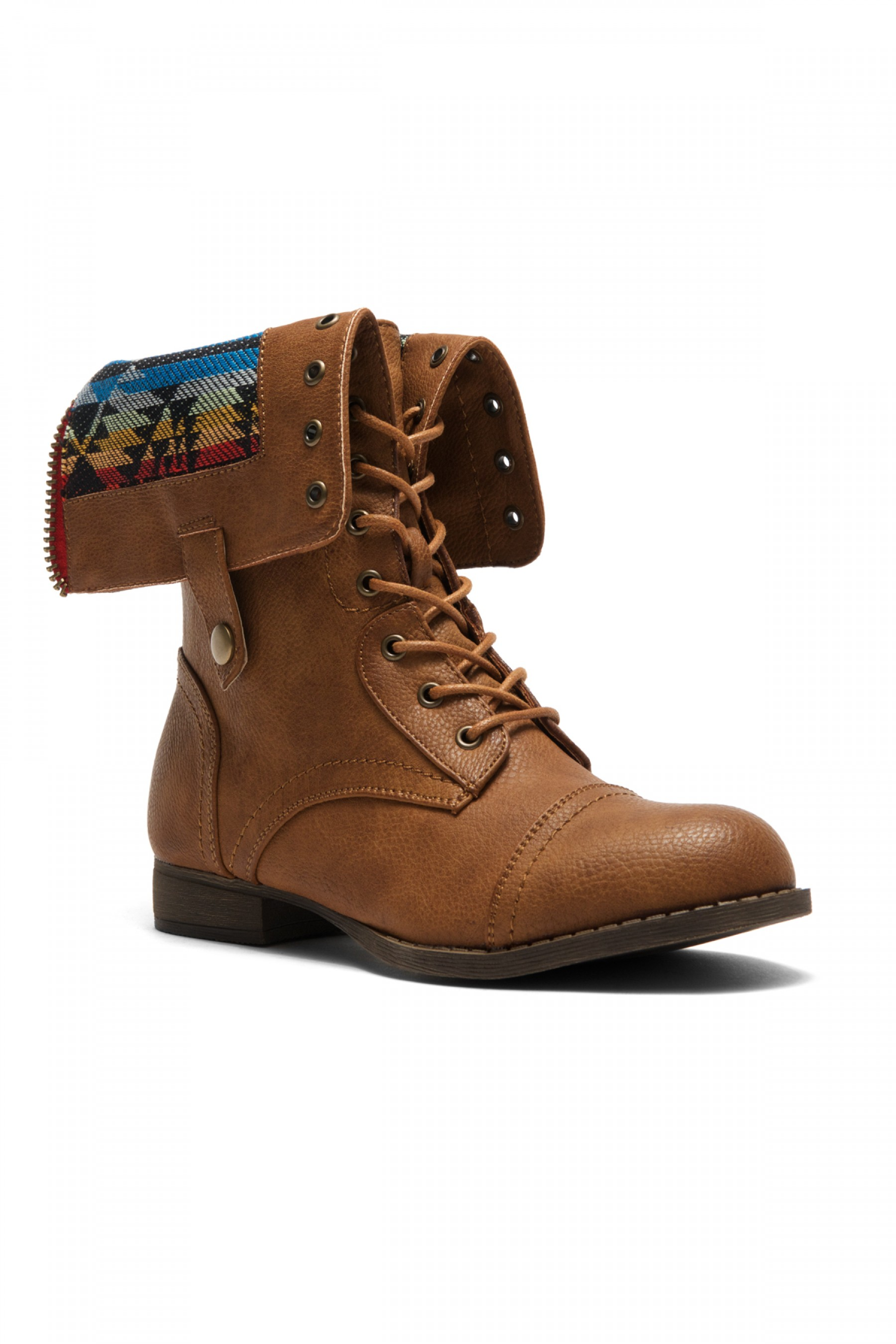 HerStyle Women's Manmade Emoojjii Combat Boot with Patterned Fold-Down Liner (Tan)