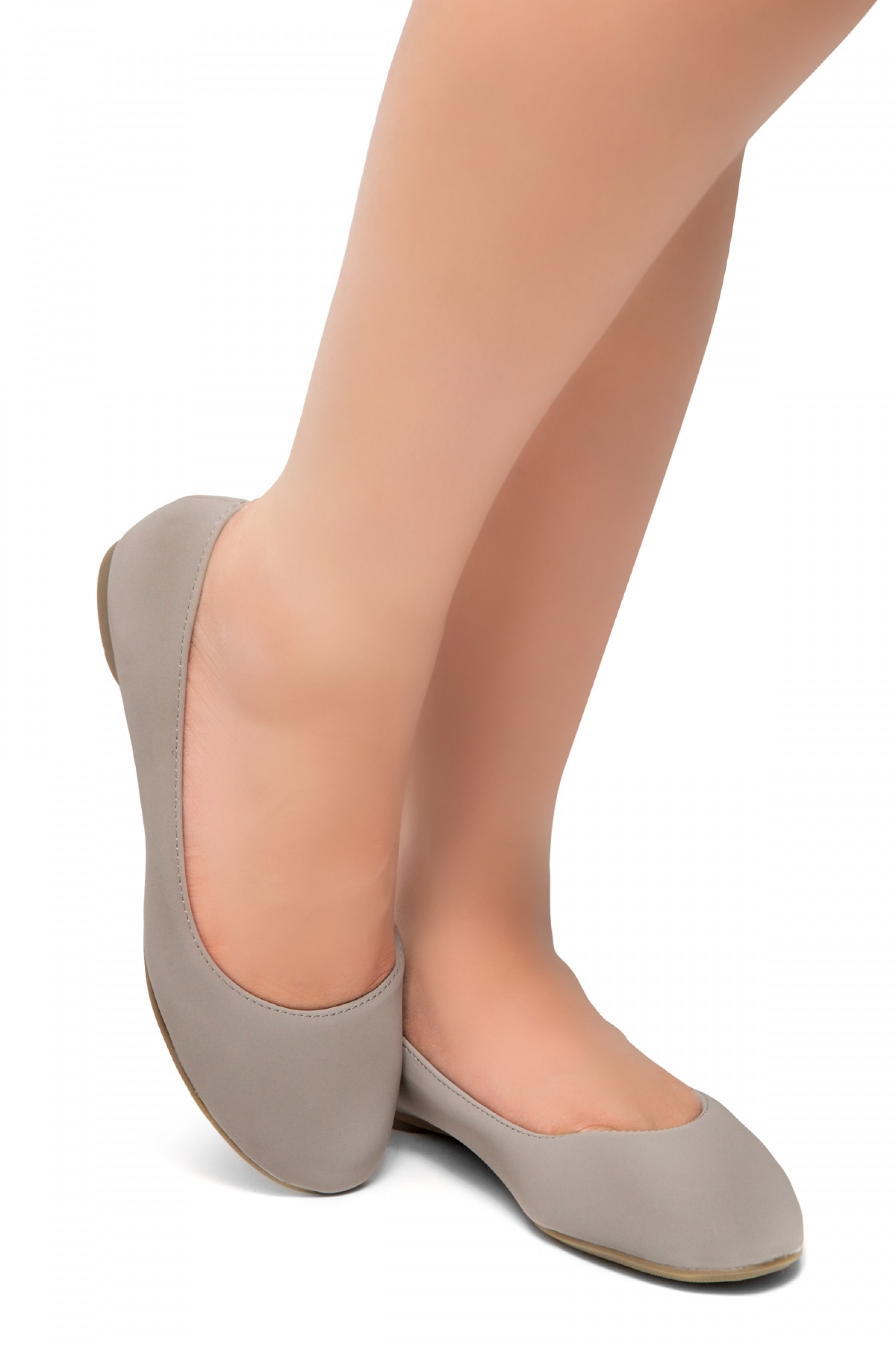 HerStyle Ever Memory -Almond Toe, No detail, Ballet Flat (Grey)