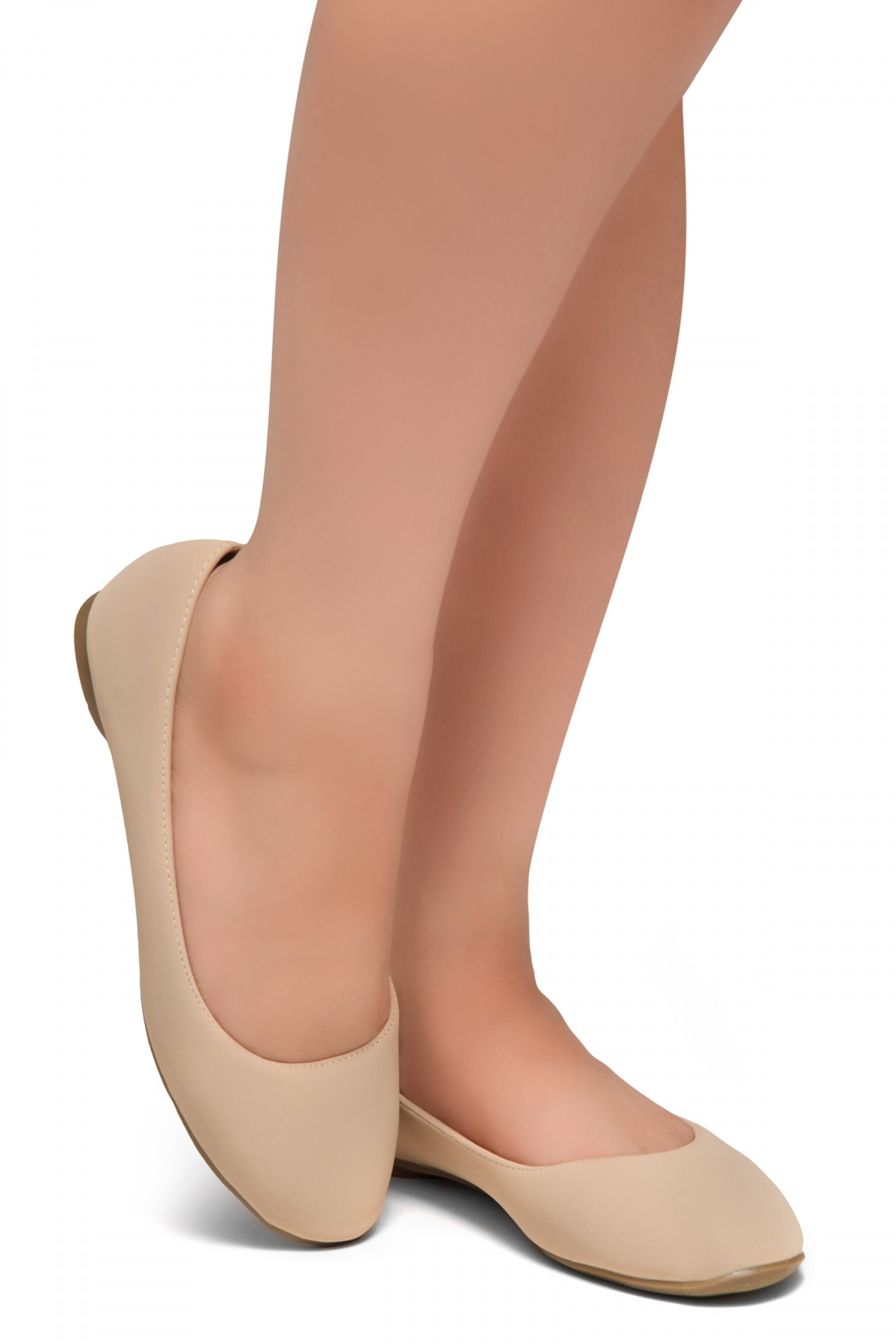 HerStyle Ever Memory -Almond Toe, No detail, Ballet Flat (Nude)