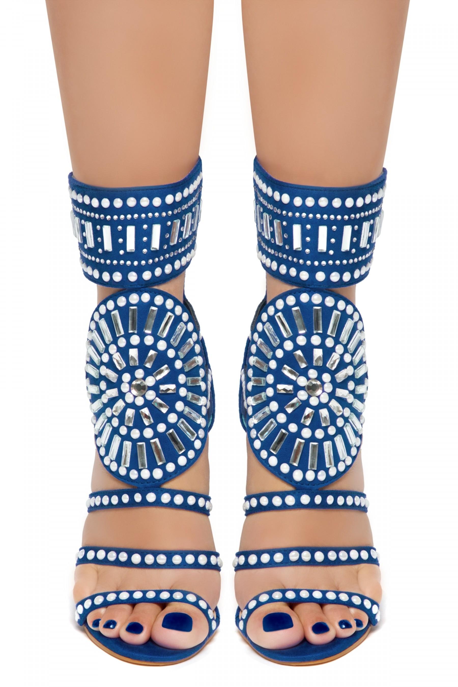 HerStyle Fashion Crowd stiletto heel, jeweled embellishments (RoyalBlue)