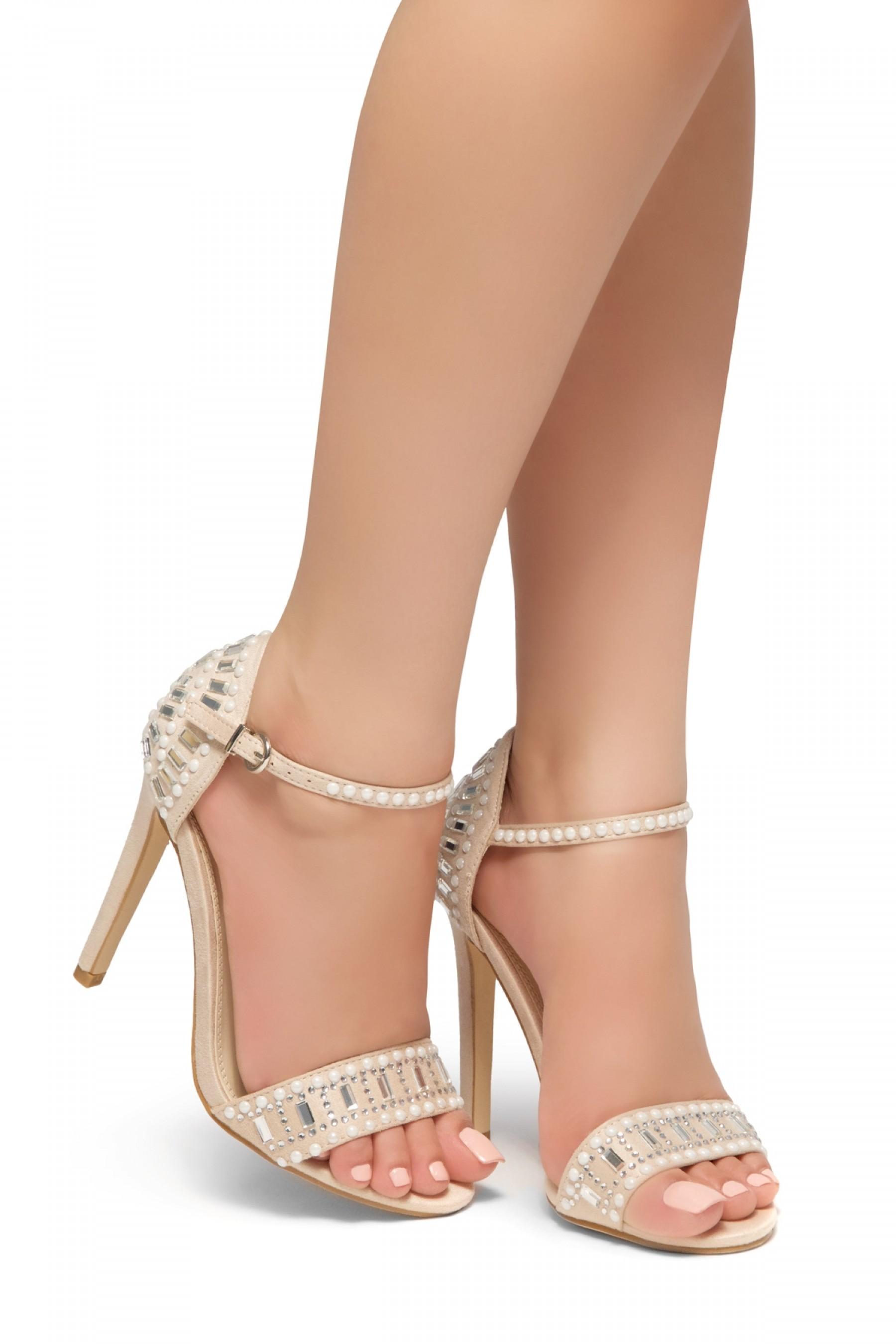 HerStyle Fashion Glam Ego- stiletto heel, jeweled embellishments (Nude)