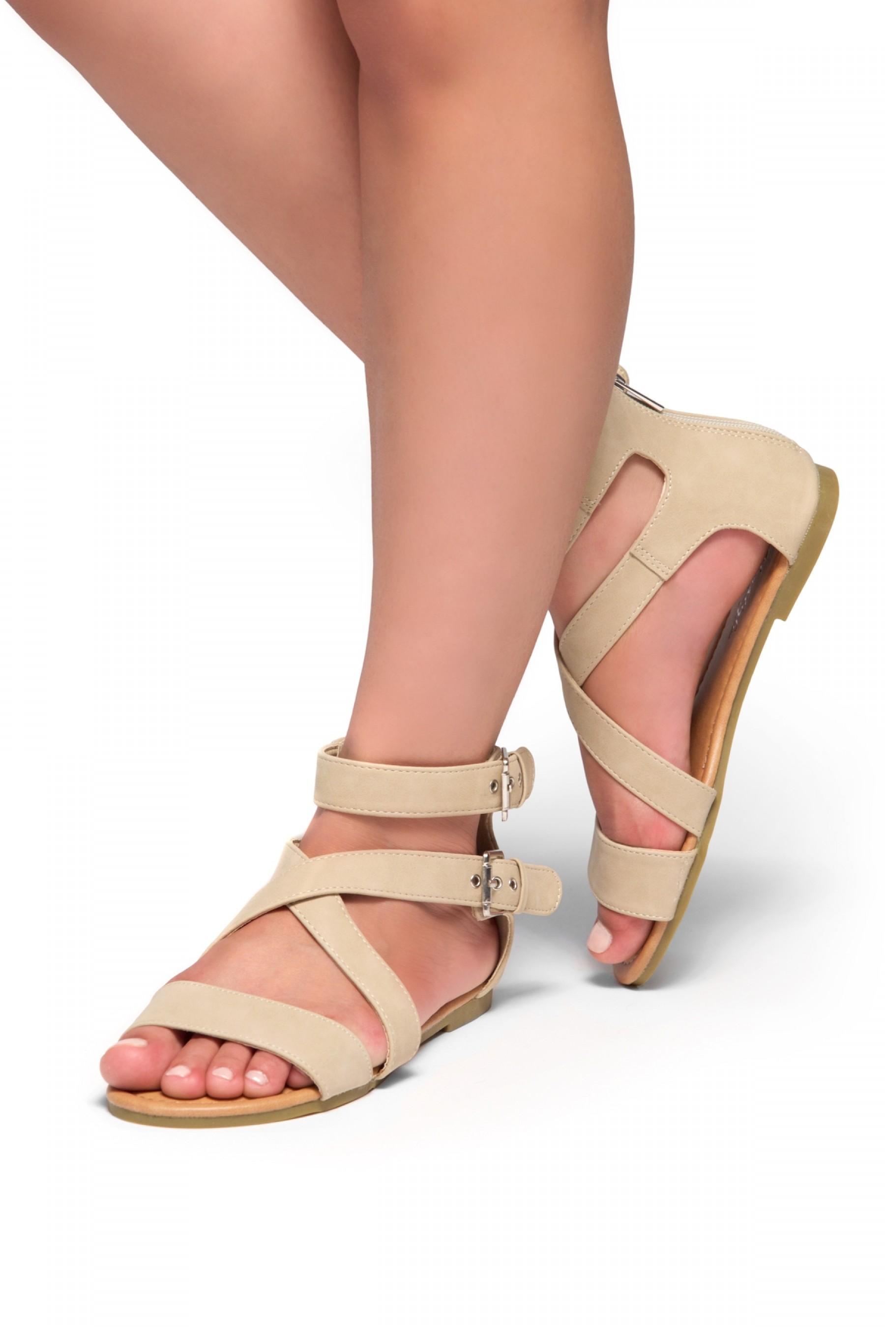HerStyle Fidela Buckled Strappy Gladiator Flat Sandal (Beige)