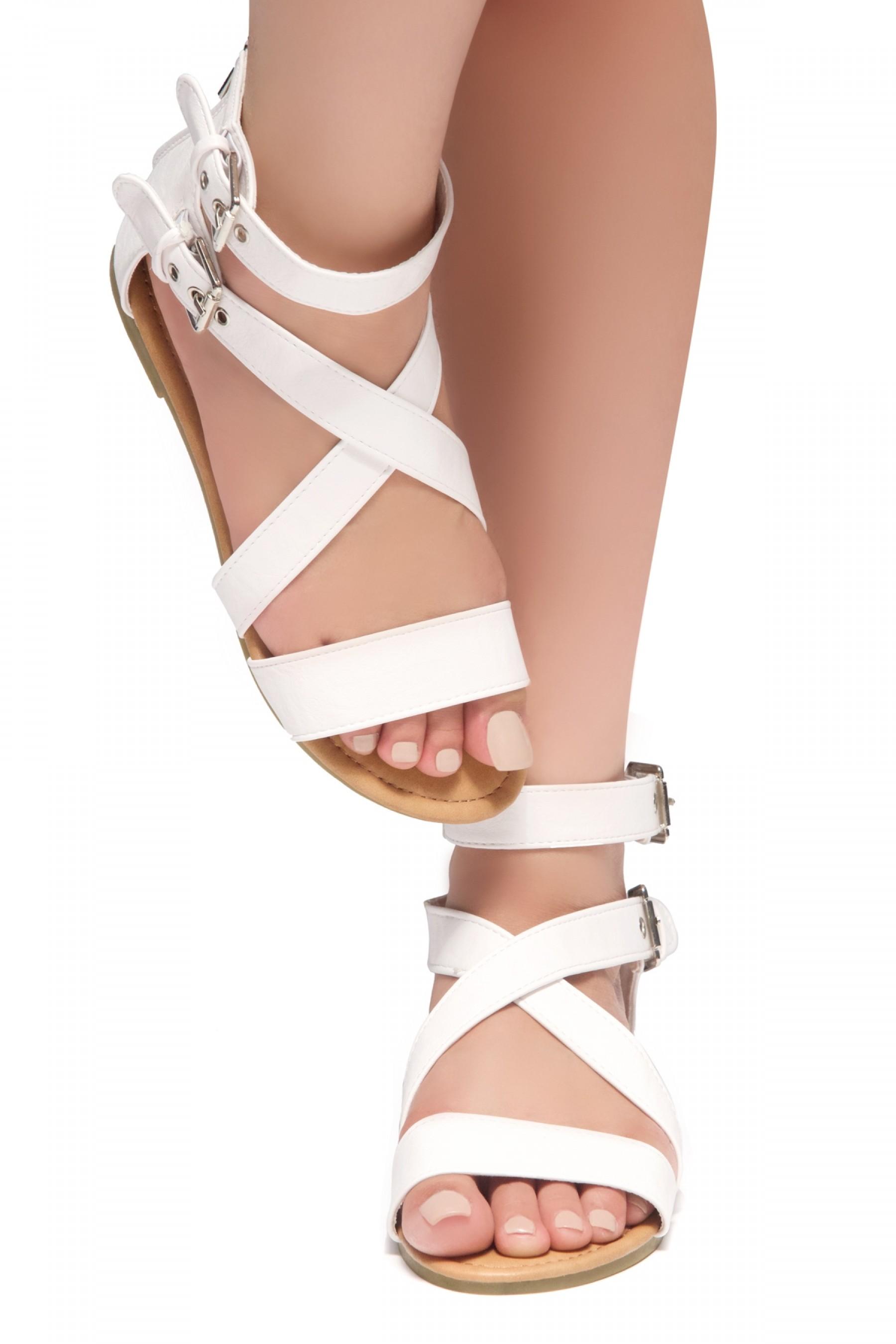 HerStyle Fidela Buckled Strappy Gladiator Flat Sandal (White)