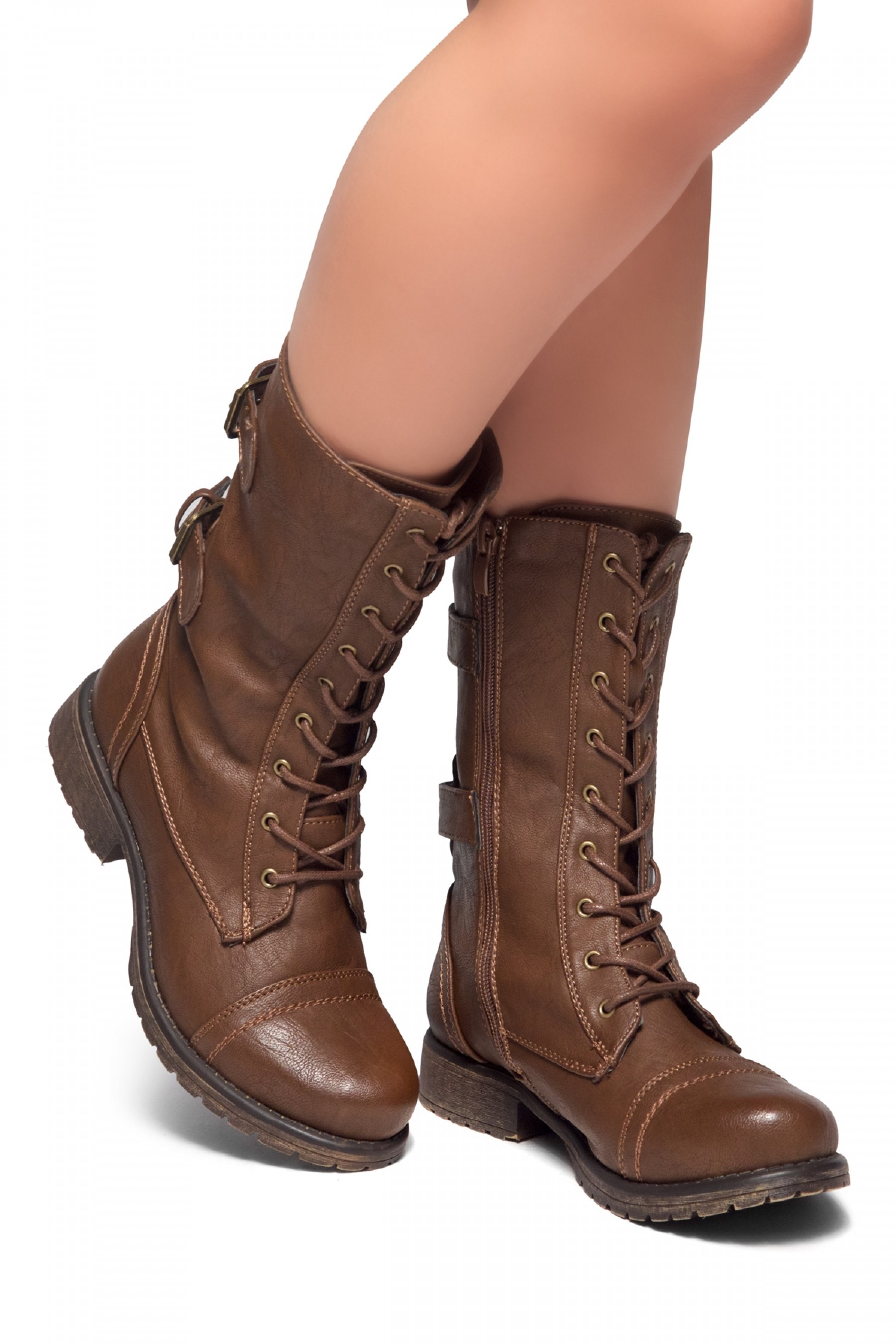 Women\u0027s Brown Florence 2 Military Lace up, Double Buckled, Middle Calf  Combat Boots