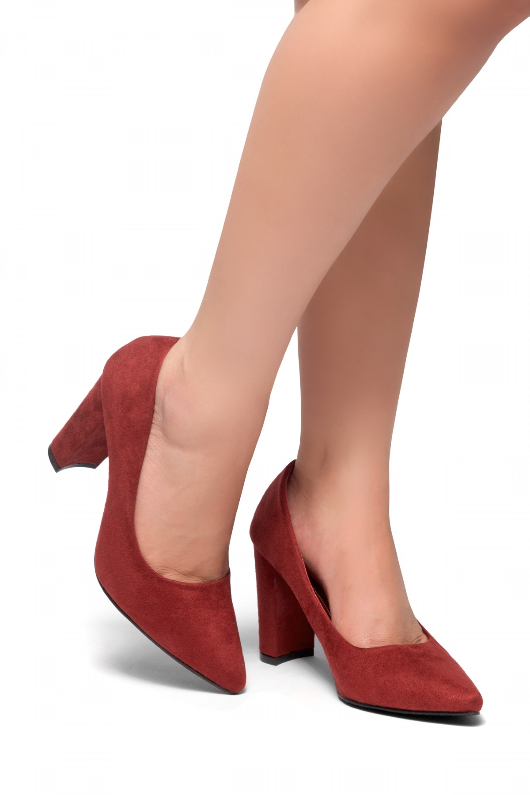 Floriza-Pointy toe, chunky heel pumps (Burgundy)