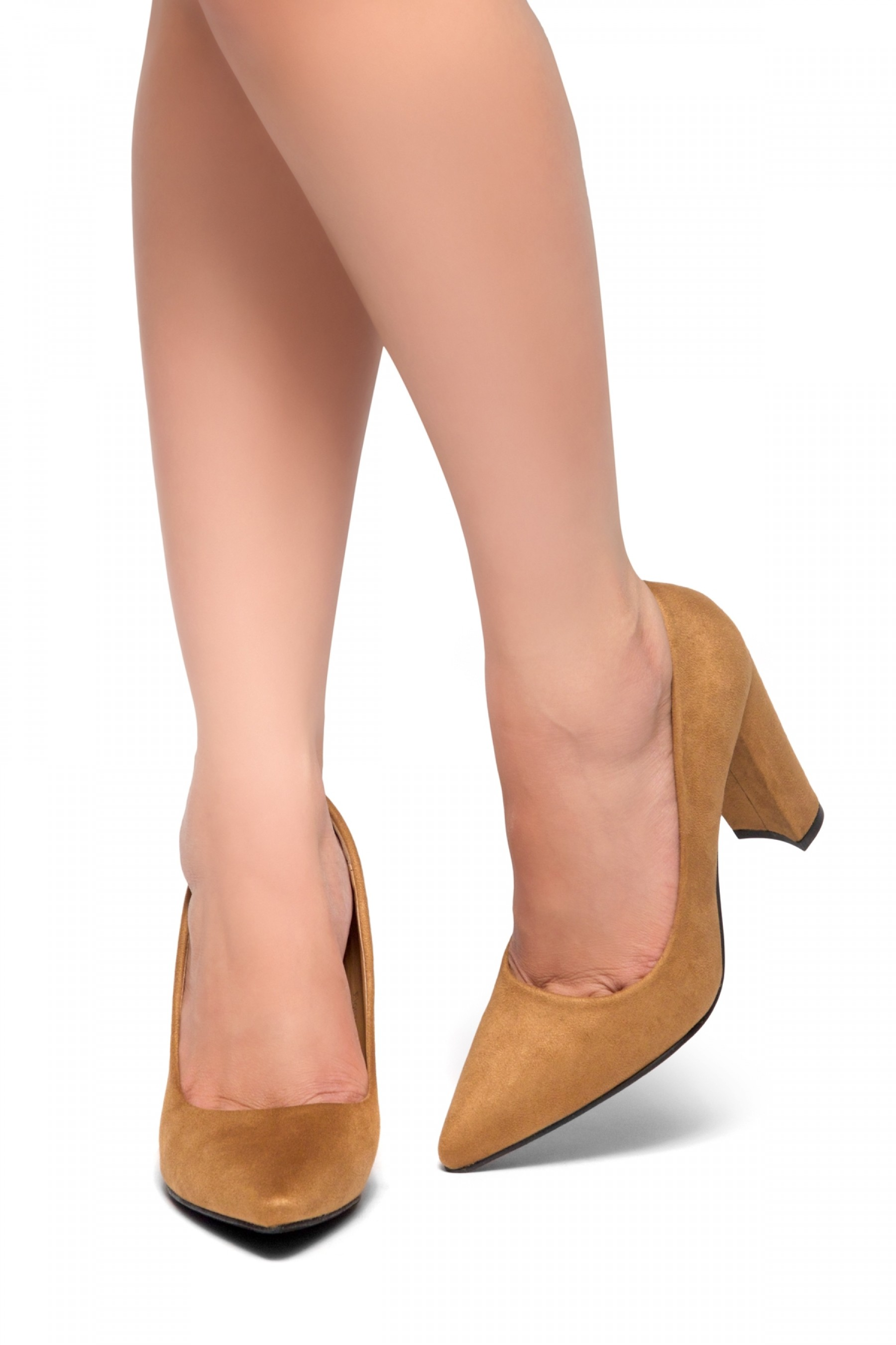 Floriza-Pointy toe, chunky heel pumps (Tan)
