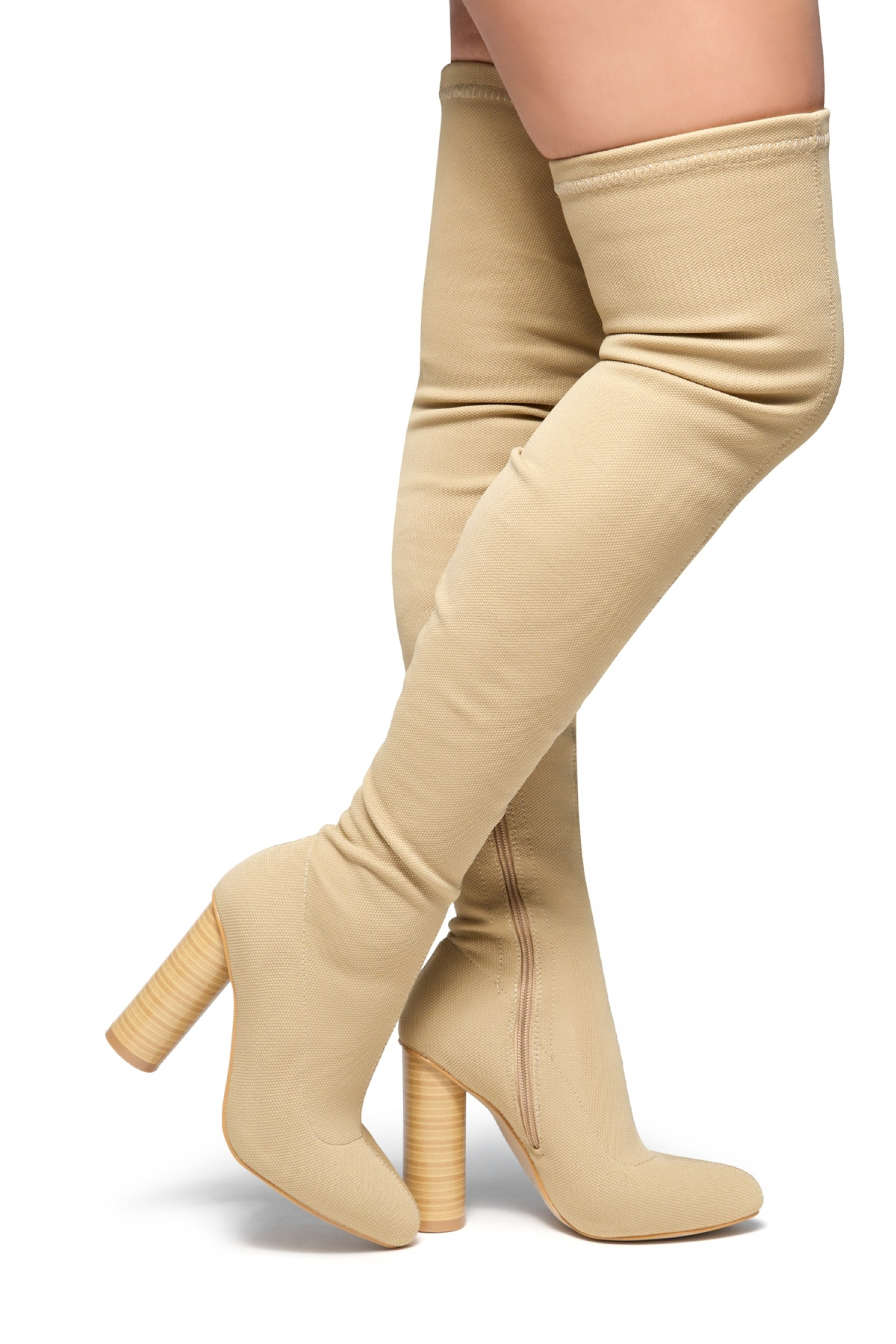 Women's Beige Fressa Sock fit boots, Knit Stretch thigh high boots, and cylinder stacked heel