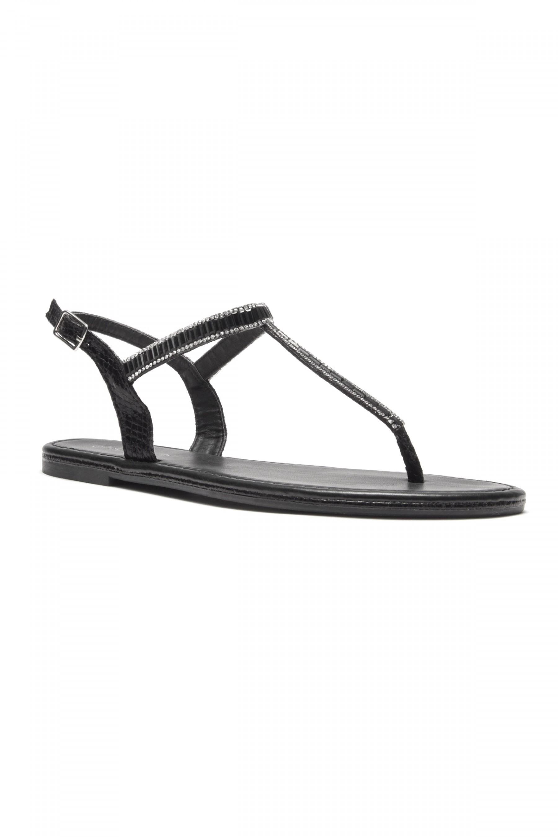HerStyle Gammee Metallic Rhinestone Thong Flat Sandal (Black)
