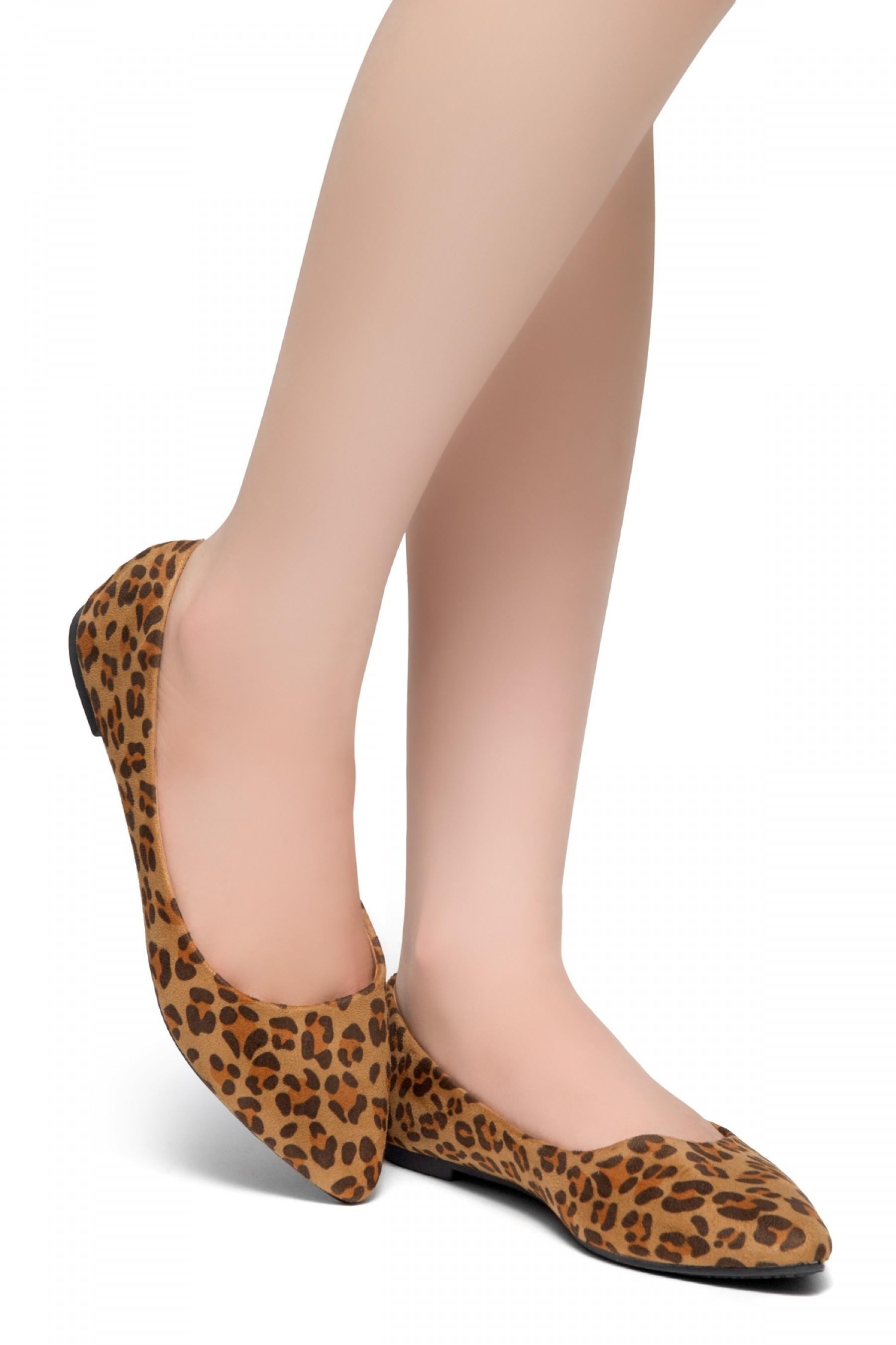 HerStyle Gemma-Pointed Toe Ballet Comfort (Leopard)
