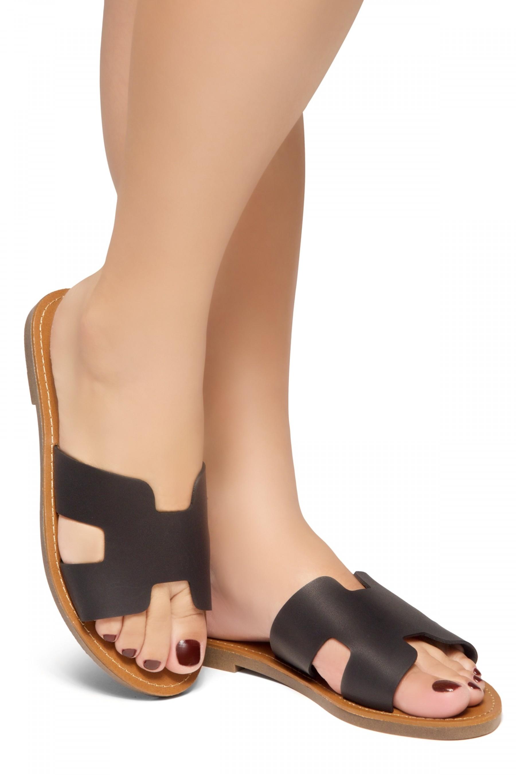 HerStyle Greece- Lightweight Flat Easy Slide-On Sandals (Black)