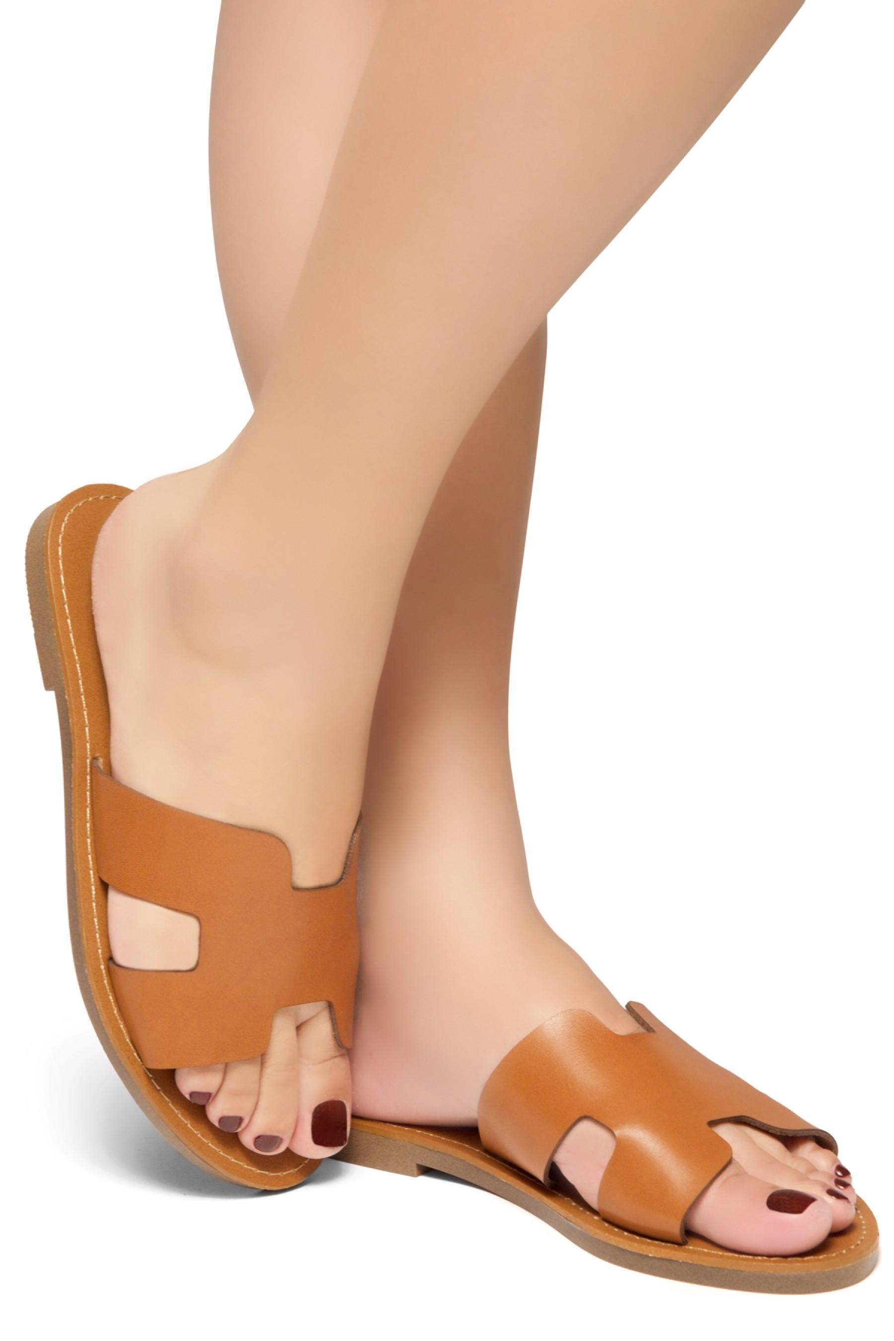 HerStyle Greece- Lightweight Flat Easy Slide-On Sandals (Cognac)