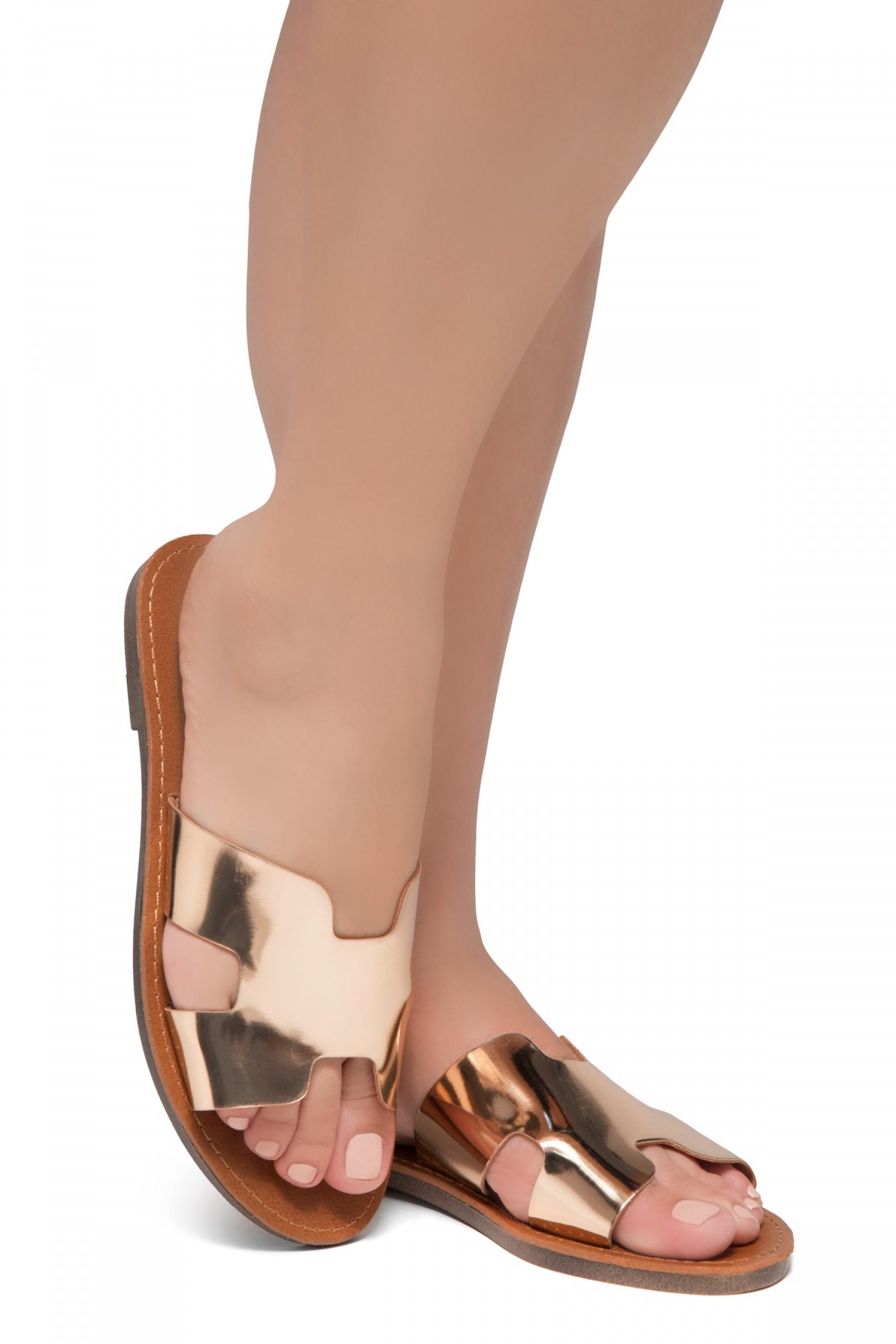 Shoe Land SL-Greece- Lightweight Flat Easy Slide-On Sandals (RoseGold)