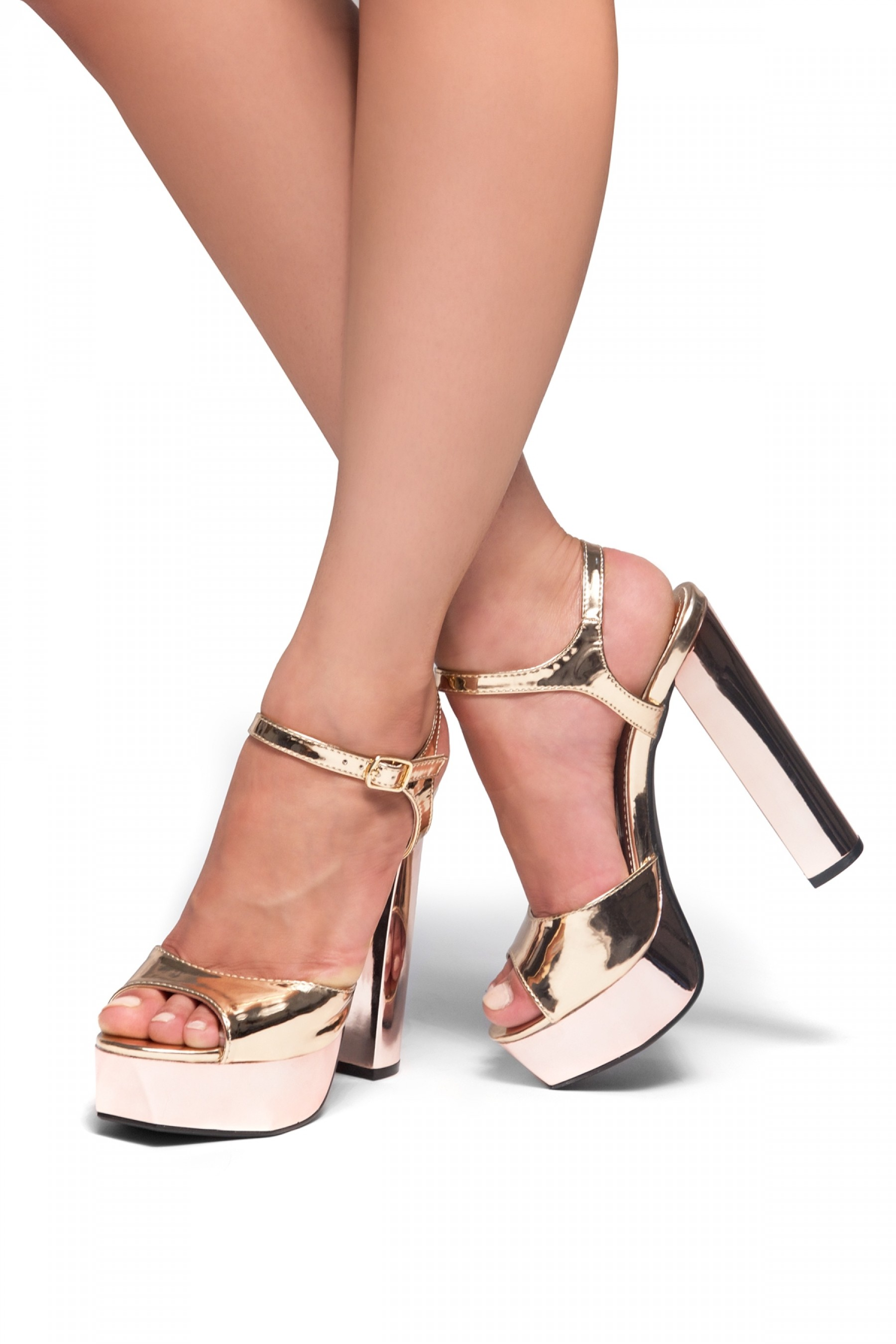 Greetta Platform, chunky heel, ankle strap (Rose Gold)