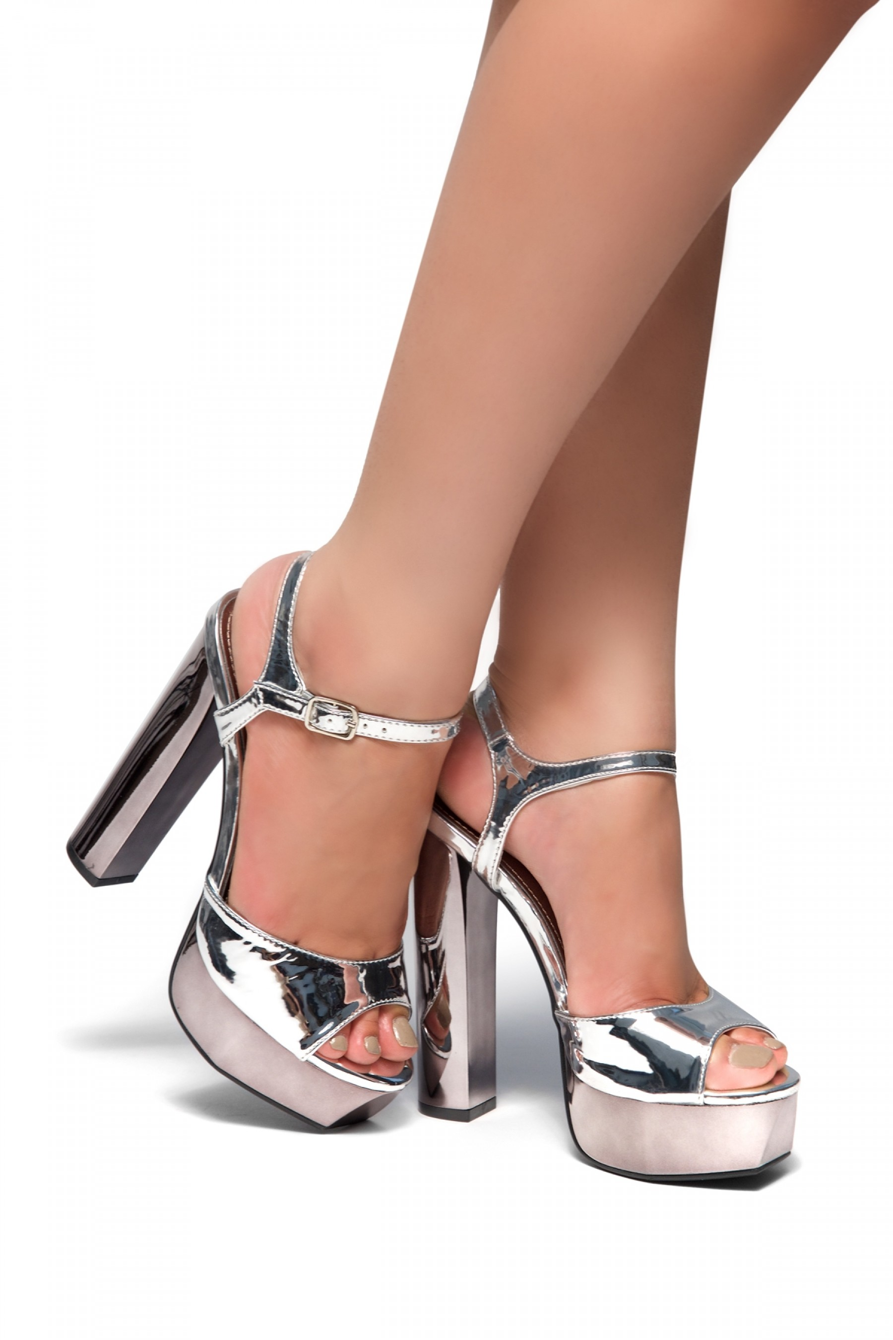 HerStyle Greetta Platform, chunky heel, ankle strap (Silver)