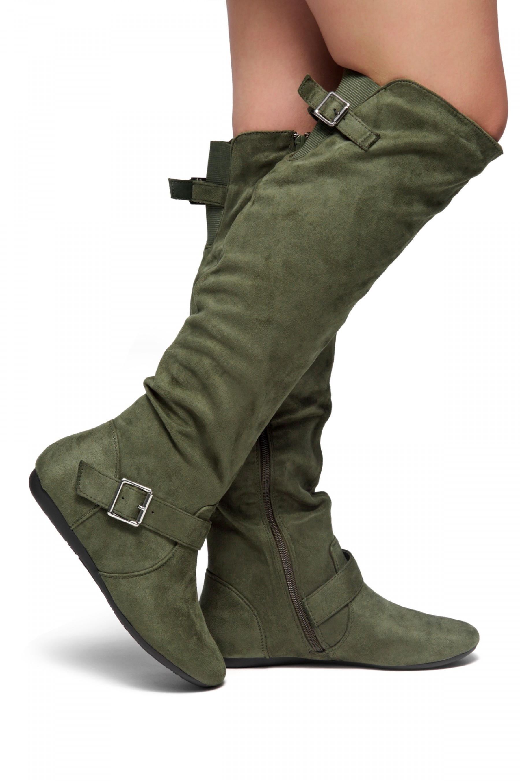 HerStyle Ieshia Thigh High Suede round toe flat boots (Olive)