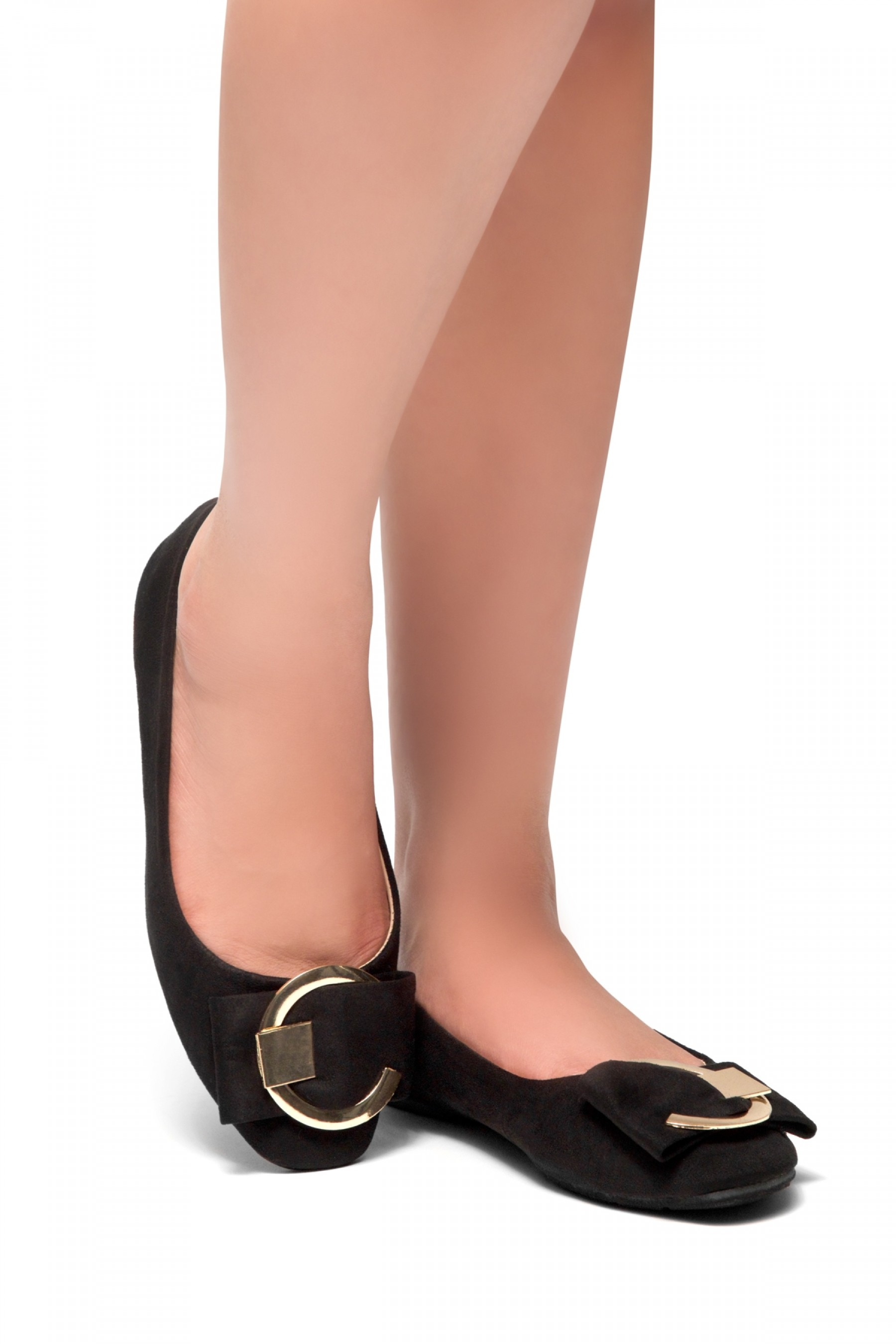 HerStyle Indro-Square Almond toe with grommet buckle ballerinas (Black)