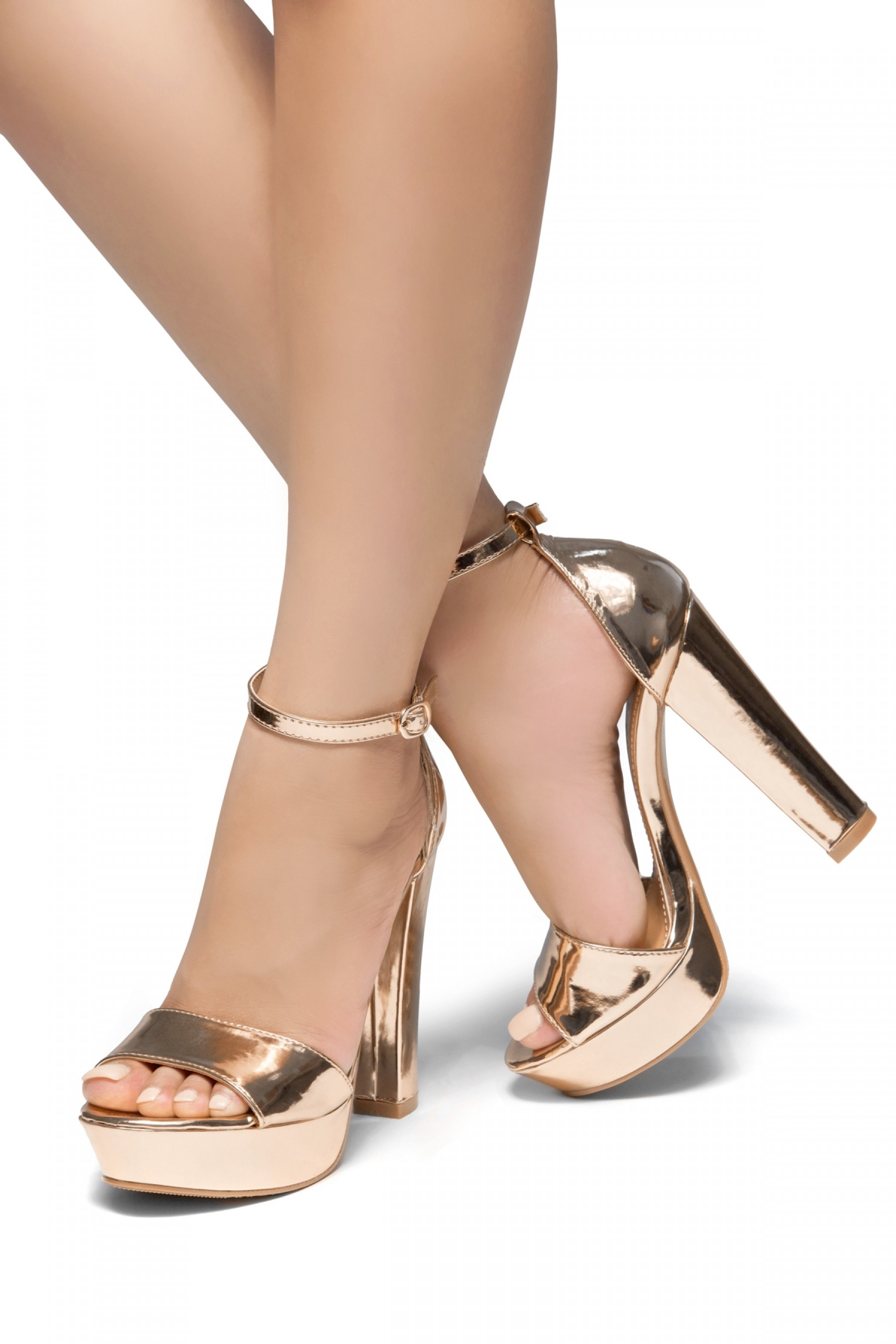 HerStyle Island-Chunky heel, Adjustable Ankle Strap (RoseGold)