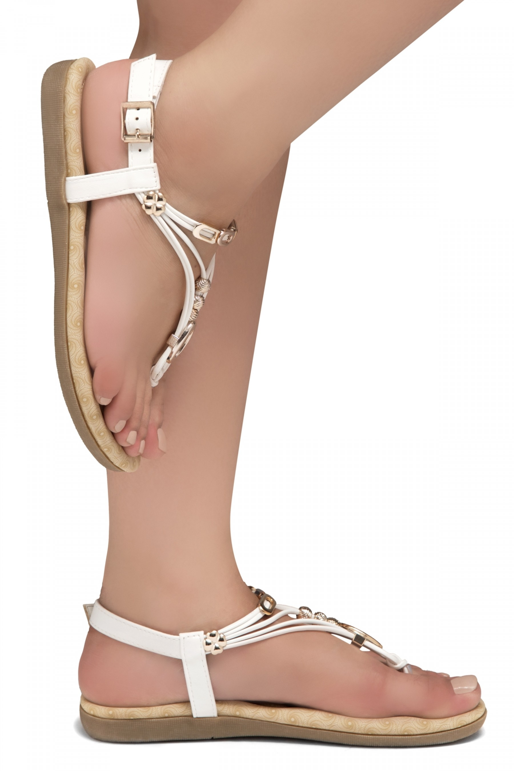 Shoe Land Issy-Manmade Women's Flat Sandal with Flirty Metallic Accents (White)