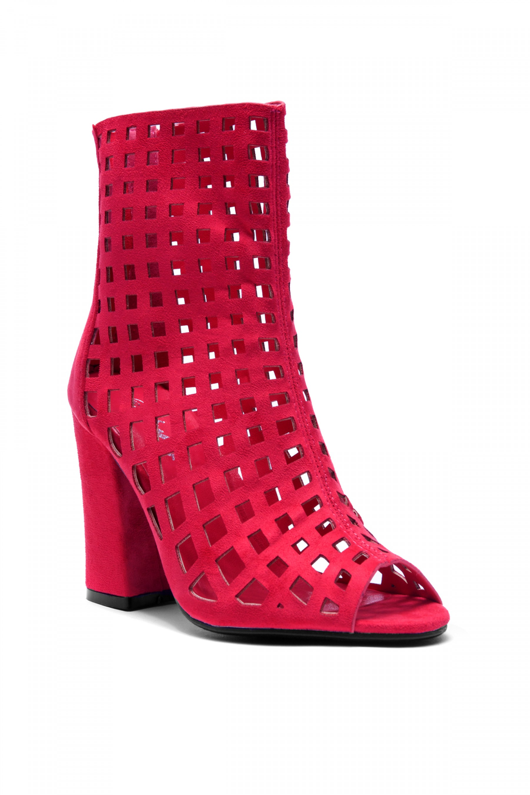 Women's Fuchsia Jerillan Chunky Heel Booties with elastic gusset wraparound detail at vamp