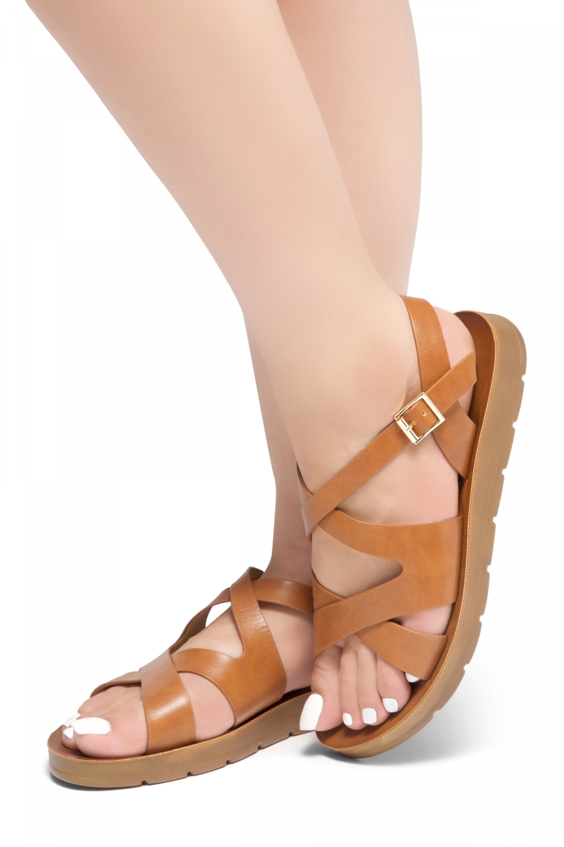 HerStyle Women's Manmade JOURNEY AHEAD- Flat Sandal with strap across vamp(Tan)