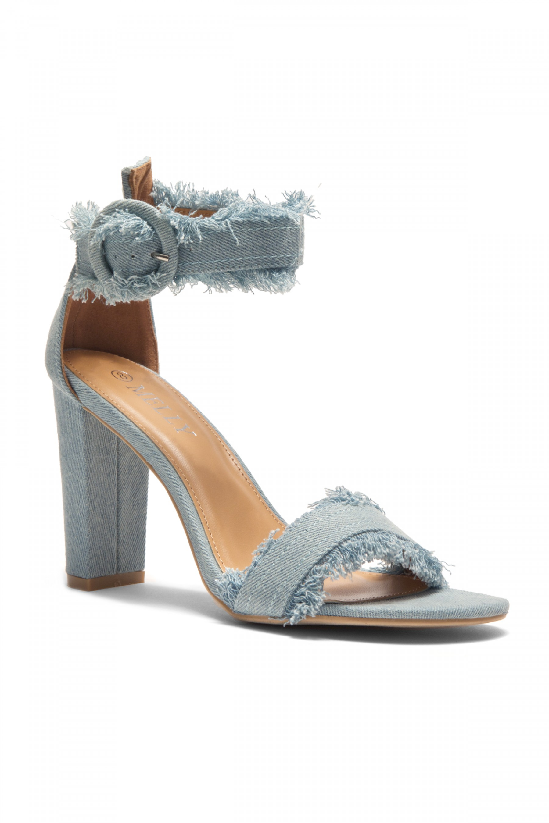 HerStyle Karrissa Effy frayed hem barely there chunky heels in light ...
