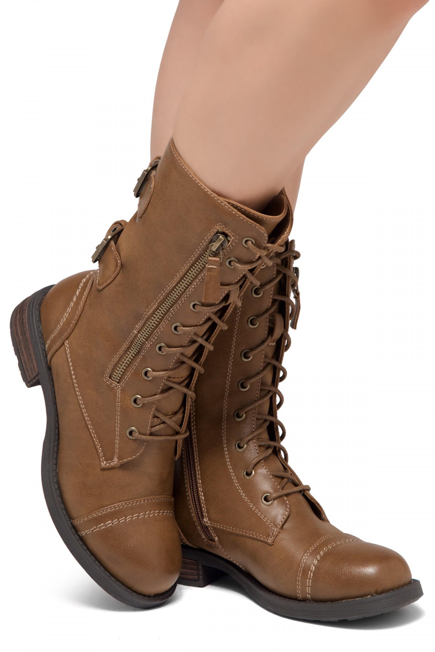 ShoeLand KASEY-Women's Military Lace Up
