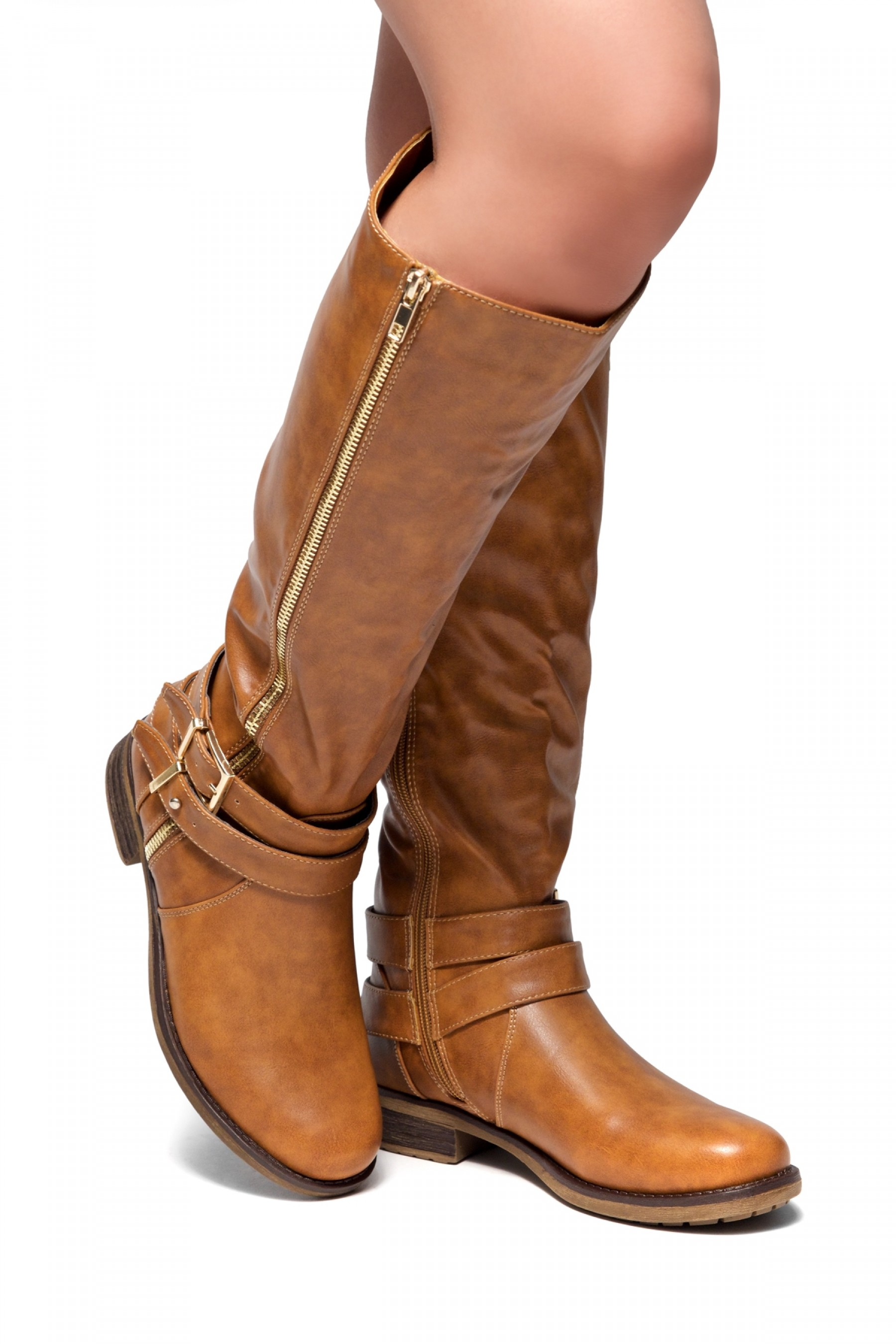 kayyllen detail knee boots most zipper buckled ankle cognac with comfortable comforter high herstyle strap double riding