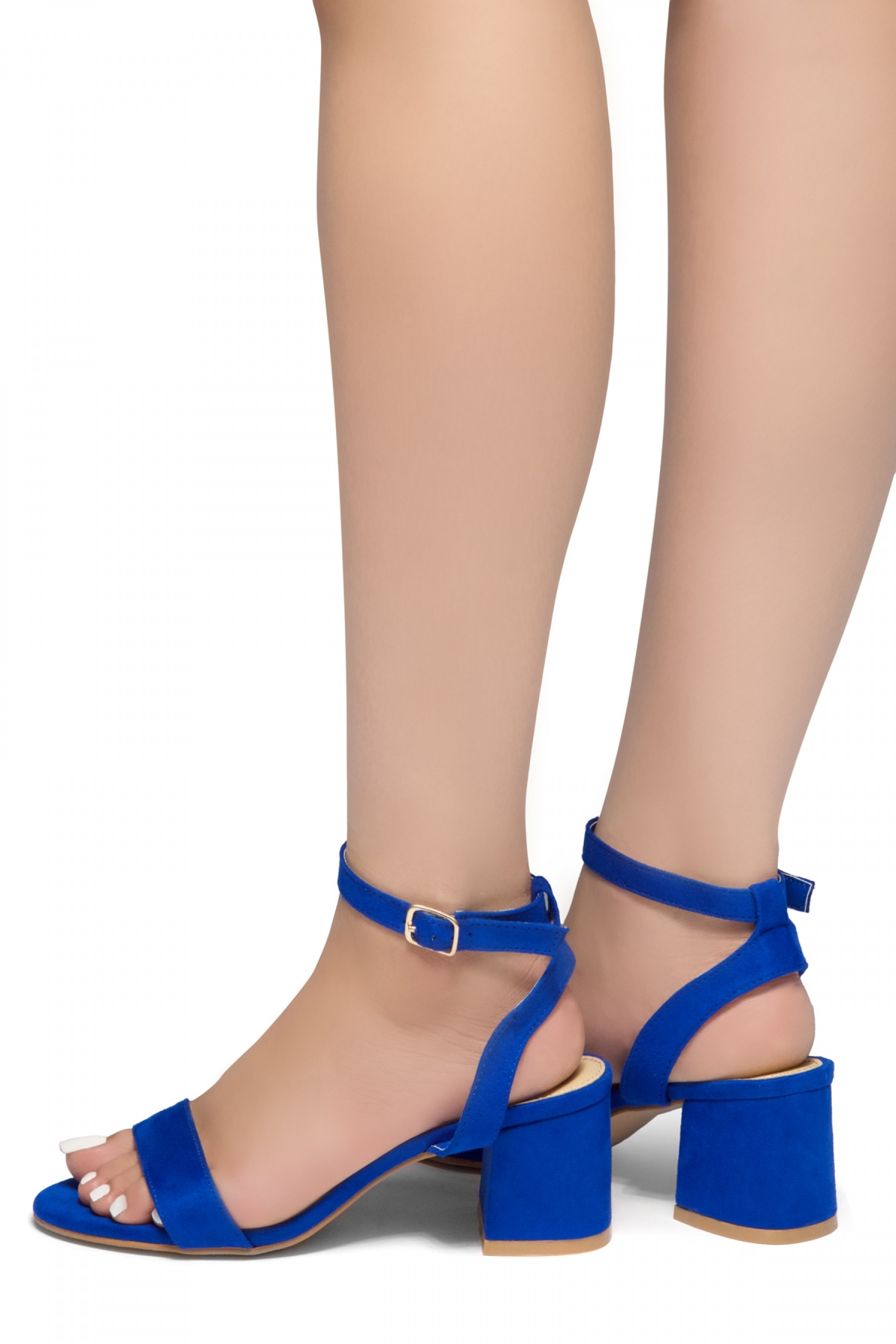 HerStyle KEEPTALKING-Suede Open Toe Ankle Strap Low Chunky Heel Sandal (RoyalBlue)
