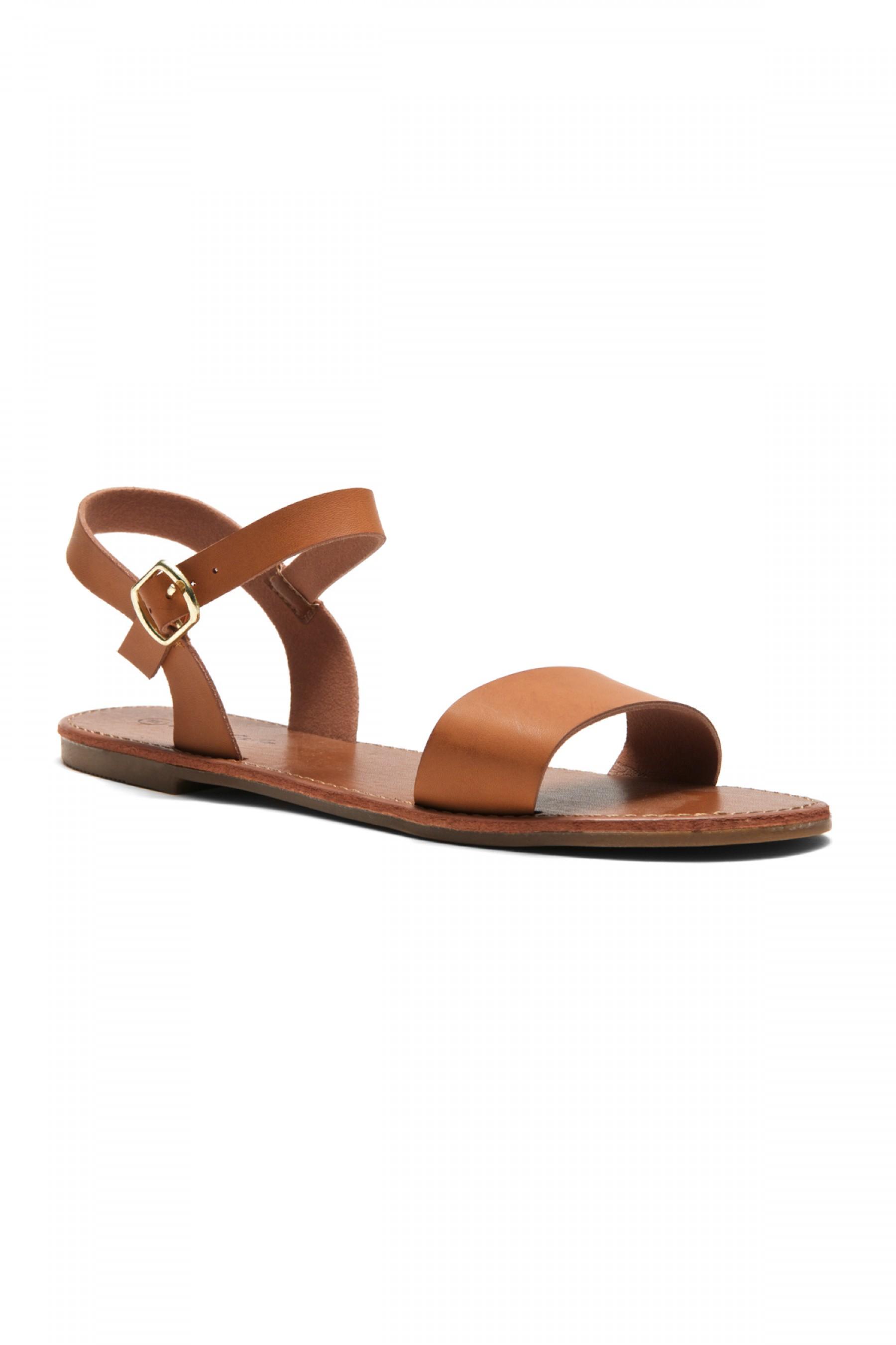 Women's Cognac Manmade Keetton Flat Sandal with Faux Leather Straps