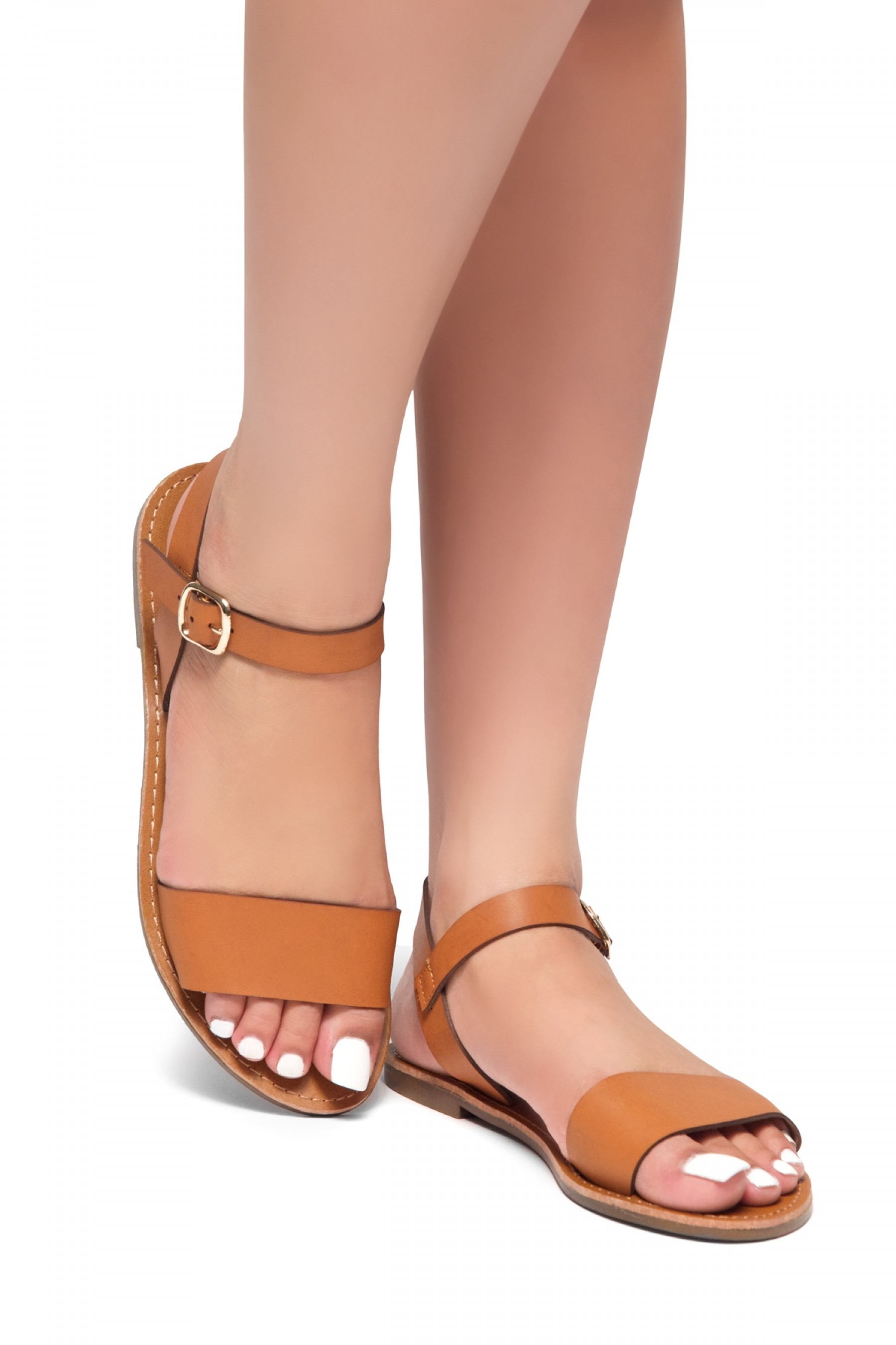 Women's Cognac Manmade Keetton Flat Sandal with Faux Leather Straps