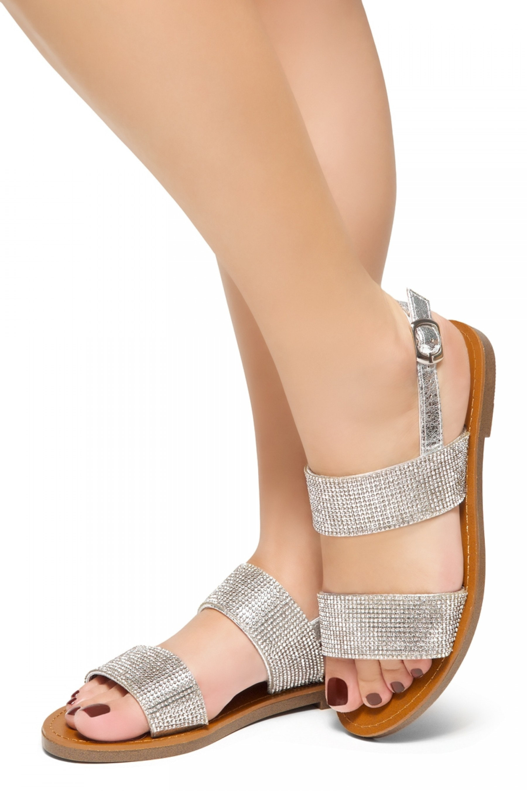 most fashionable many choices of best selection of HerStyle Keetton-Rhinestone Details, Double-Band Vamp, Open Toe, Flat  Sandals (Diamond Silver)