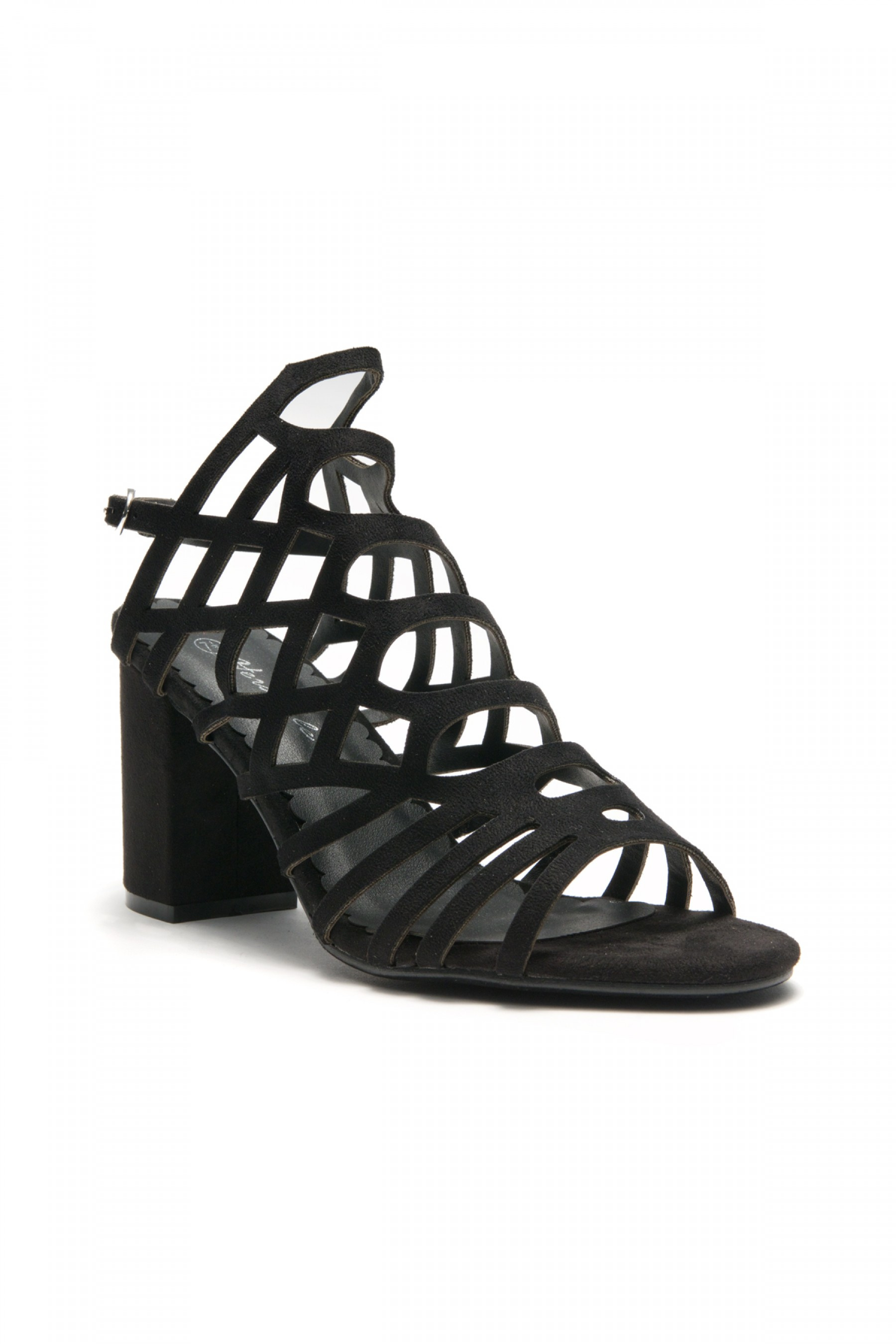 HerStyle Kesseey Laser cut dress sandal,  caged look, strappy style from vamp to ankle ,wrapped chunky heel (Black)