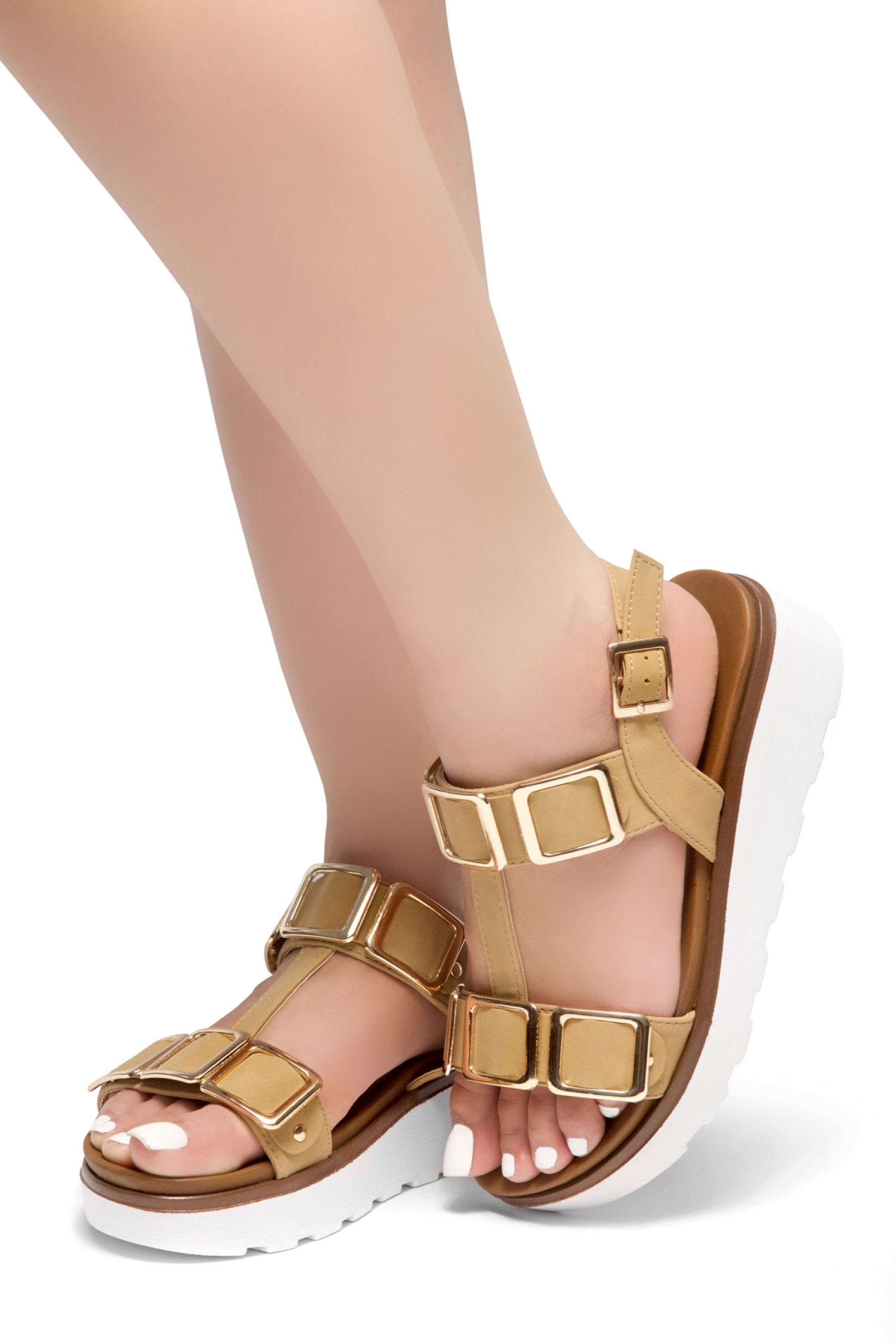 HerStyle Kimmie- Open Toe Buckle Decorative Vamp Platform Heel (Tan)