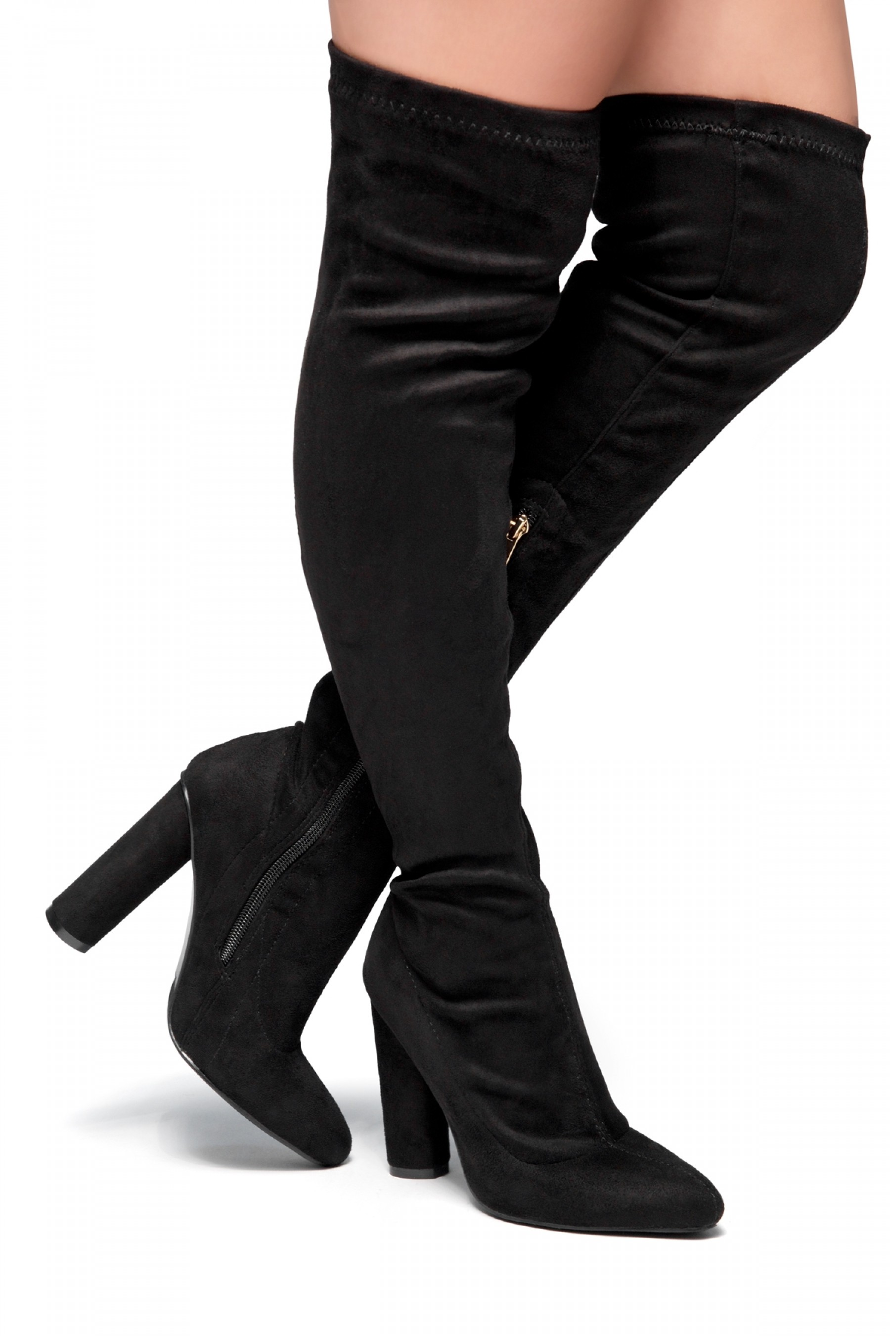 HerStyle Klaraa Pointy Toe Over-The-Knee Thigh-hi Boots, chunky heel - black