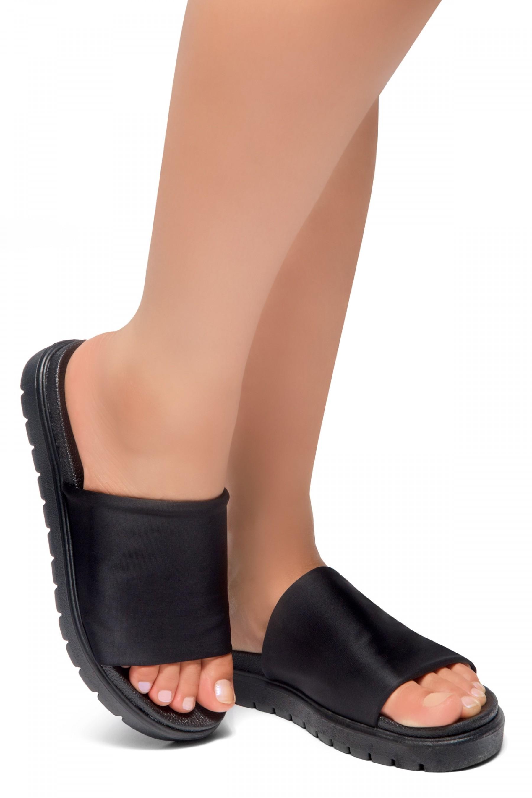 HerStyle Knock Comfort-Open Toe Slide Sandals (BlackBlack)